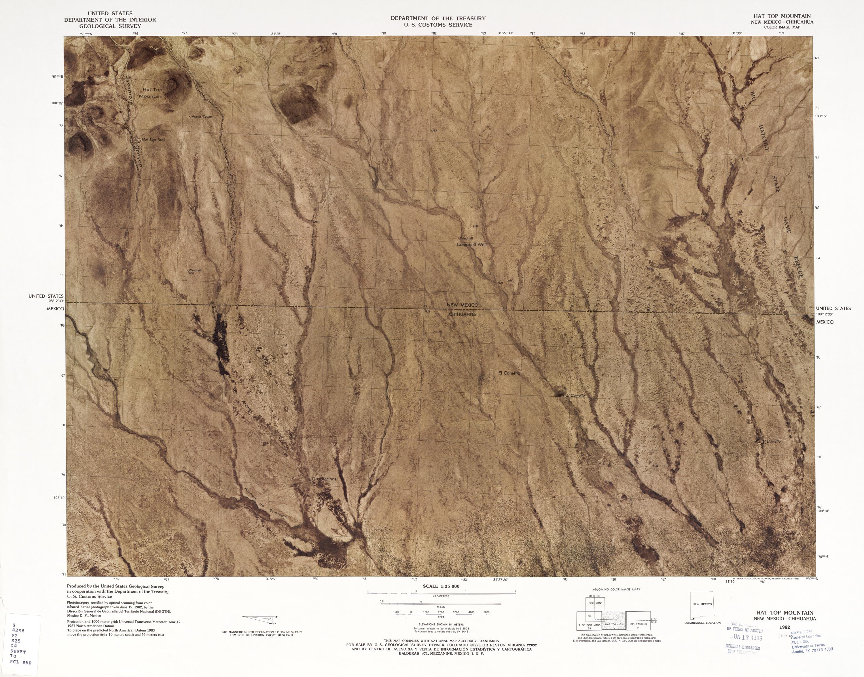 Mapa Fronterizo de México-Estados Unidos, Montaña Hat Top 1979