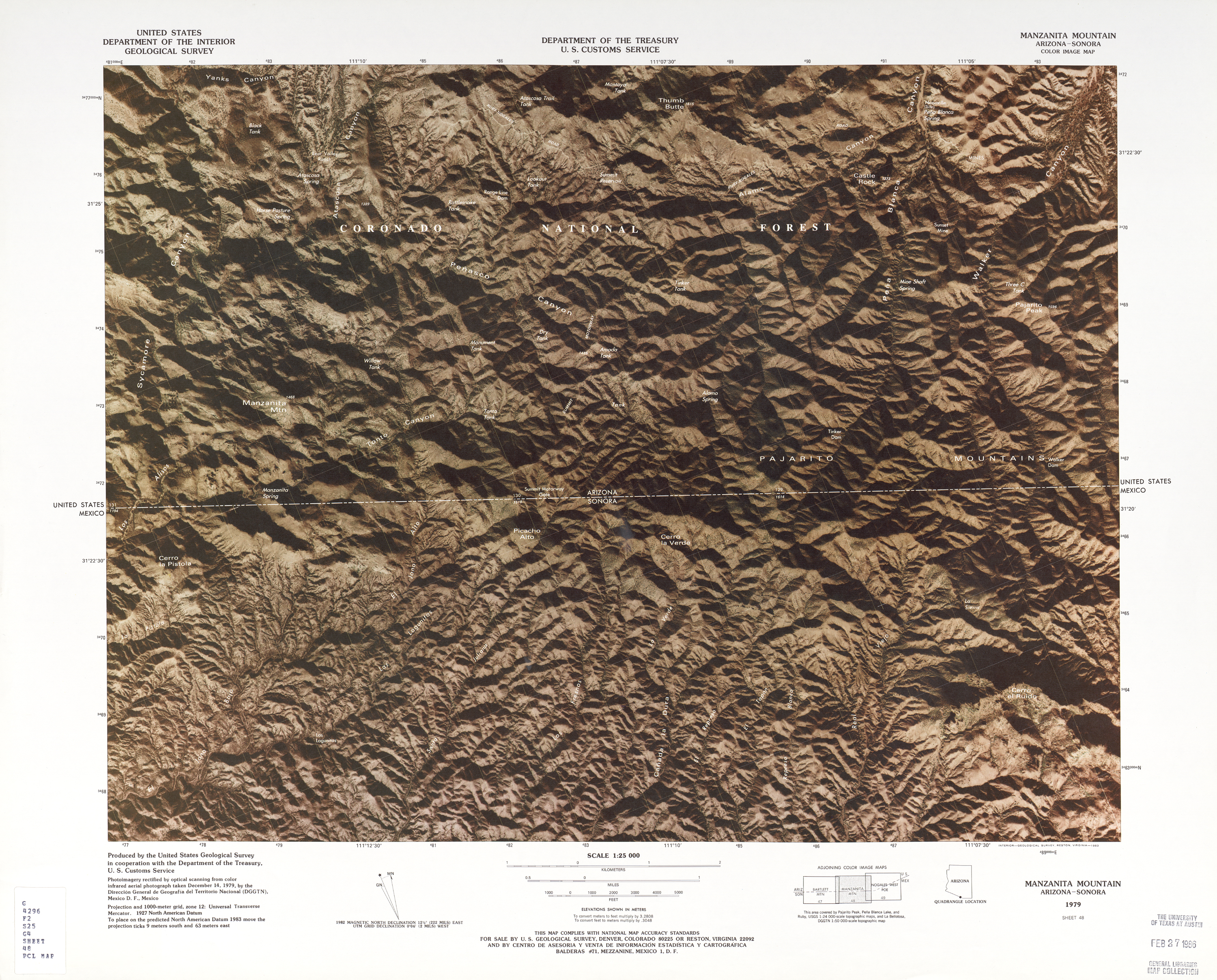 United States-Mexico Border Map, Manzanita Mountain