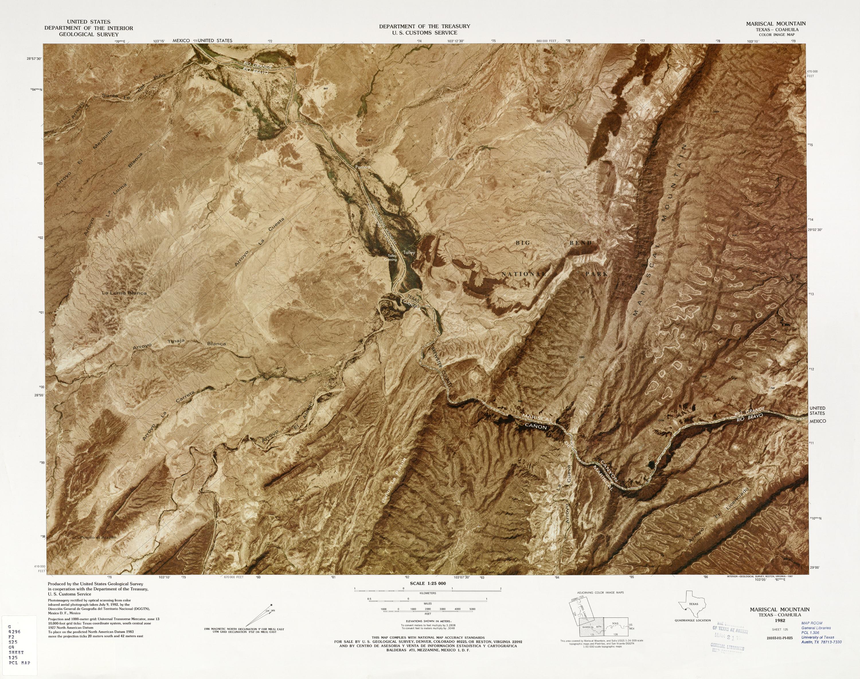 United States-Mexico Border Map, Marsical Mountain
