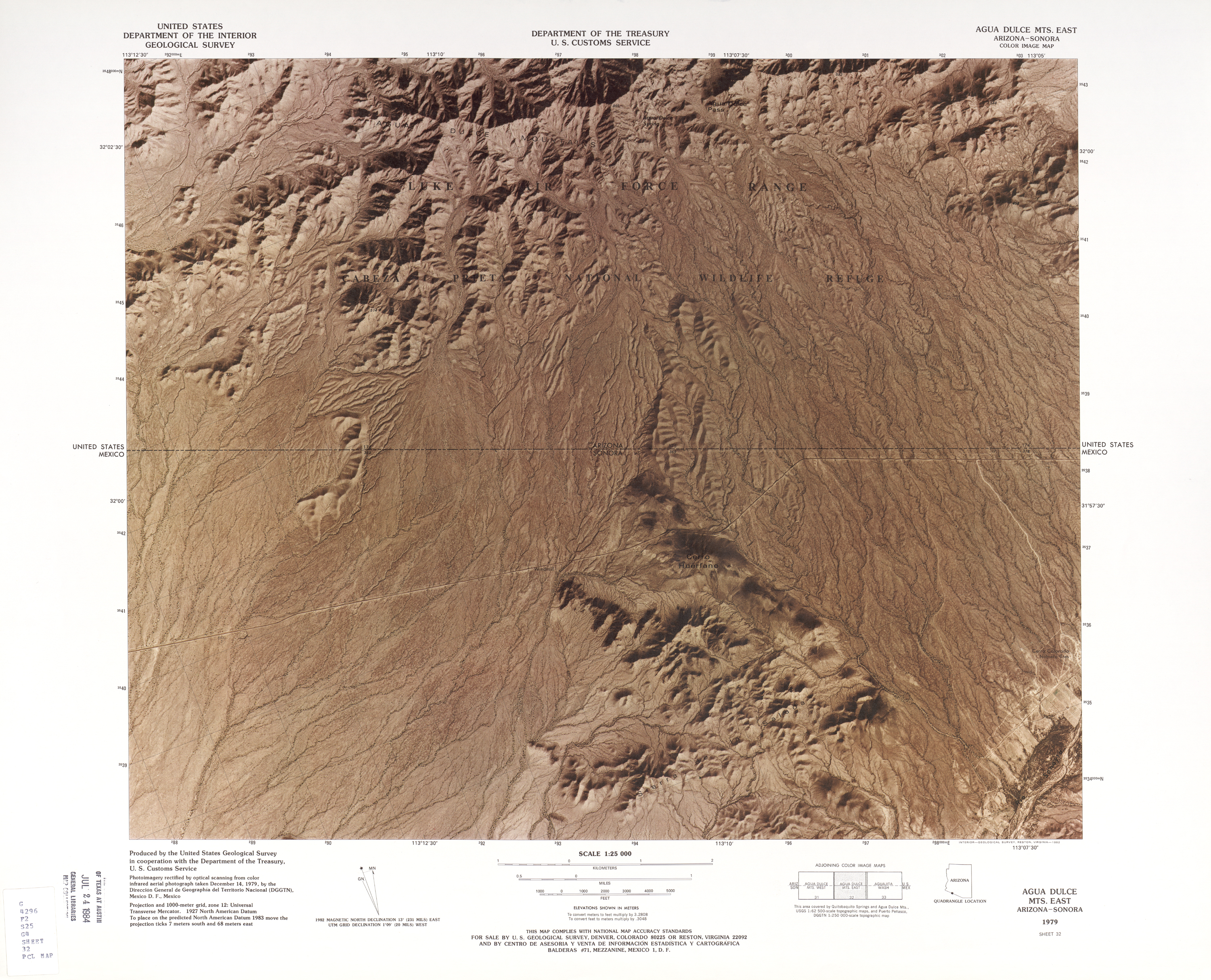 United States-Mexico Border Map, Agua Dulce Mts. East