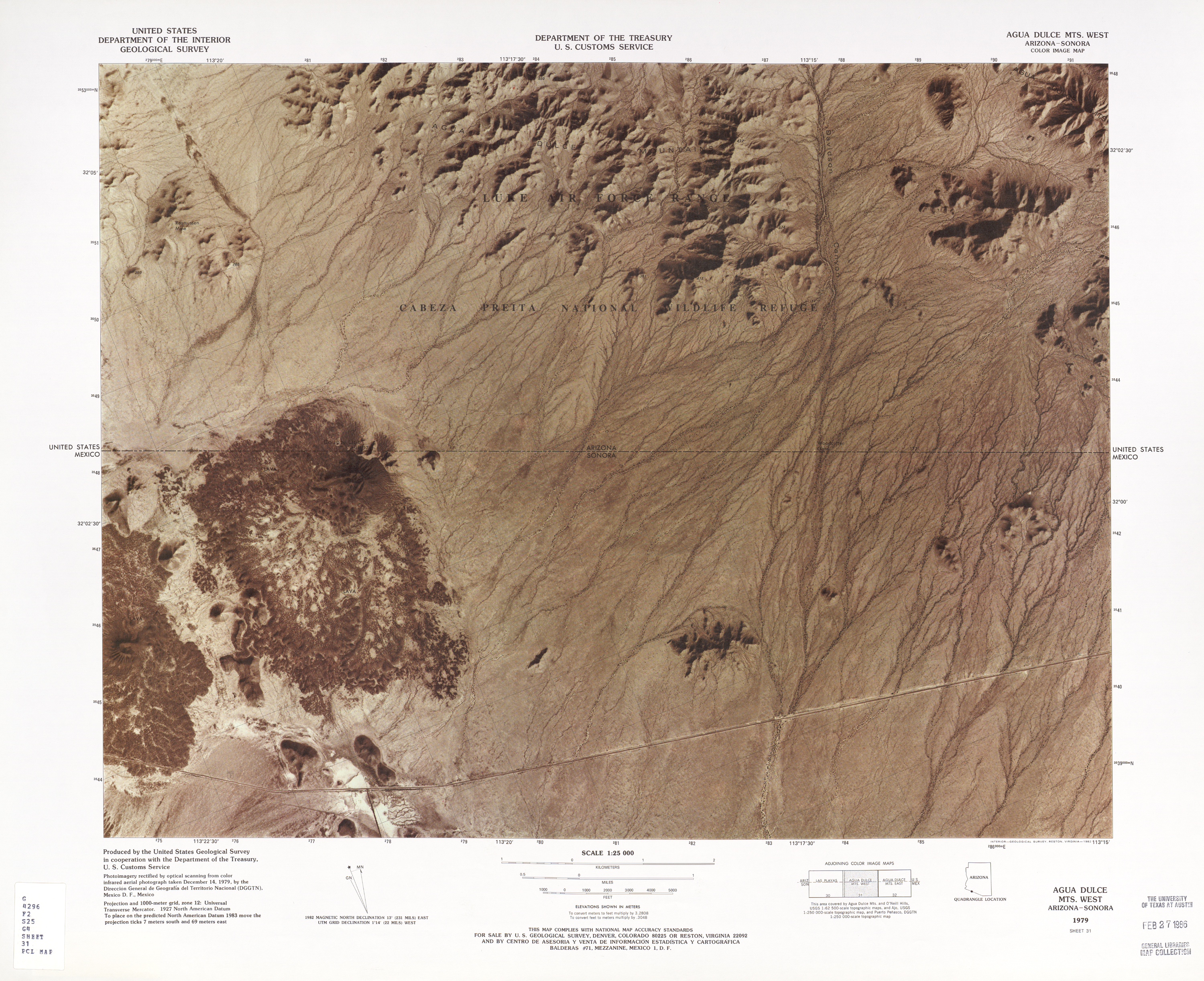 United States-Mexico Border Map, Agua Dulce Mts. West