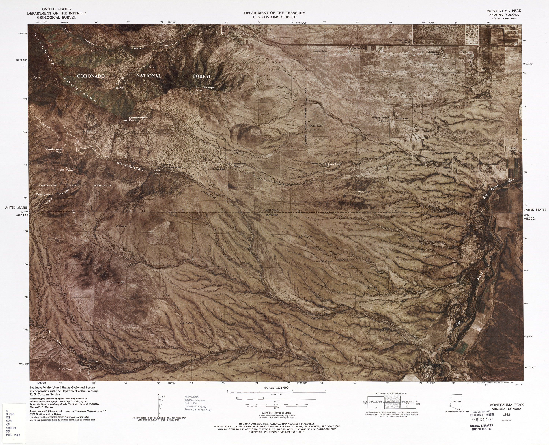 United States-Mexico Border Map, Montezuma Peak