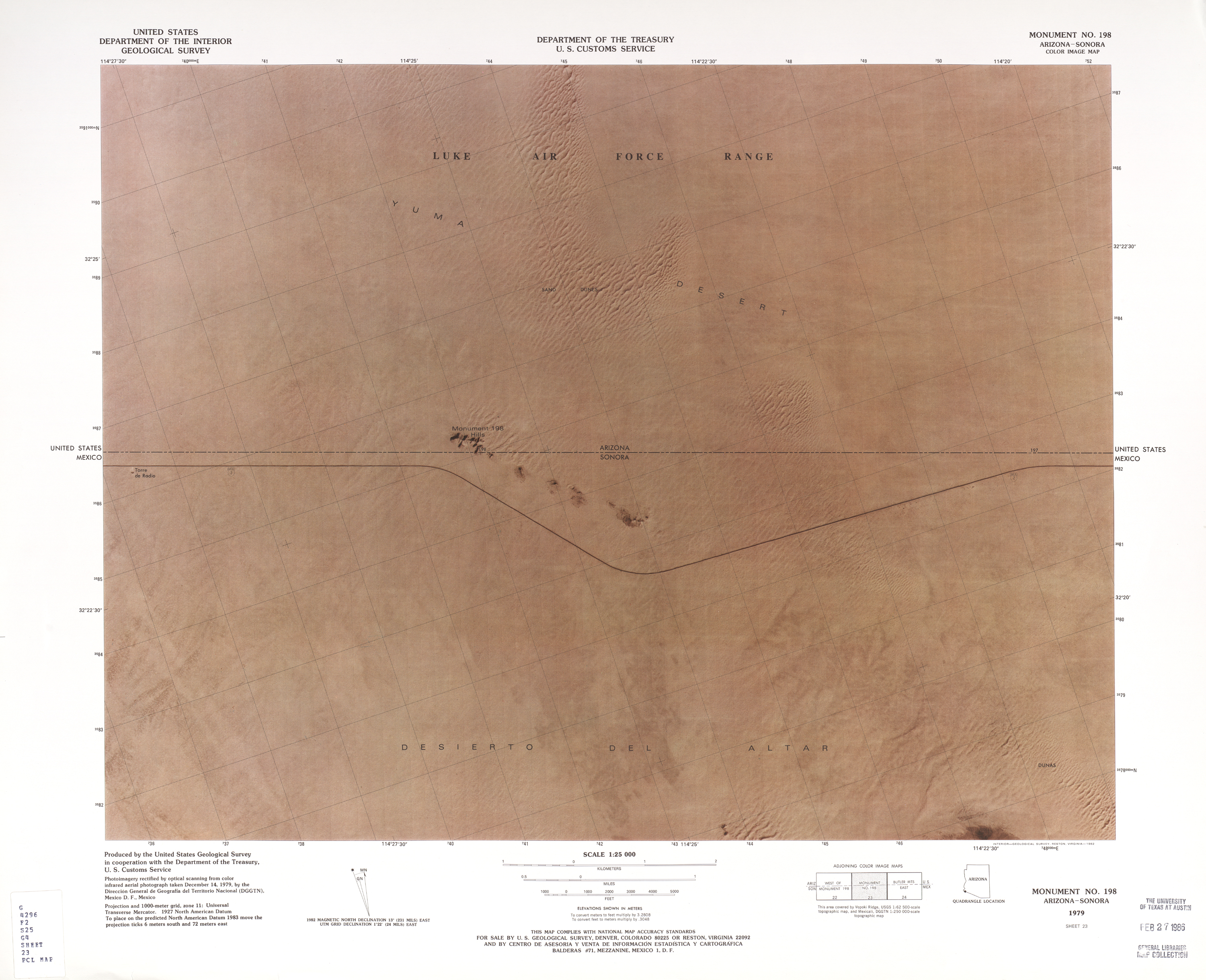 United States-Mexico Border Map, Monument No. 198