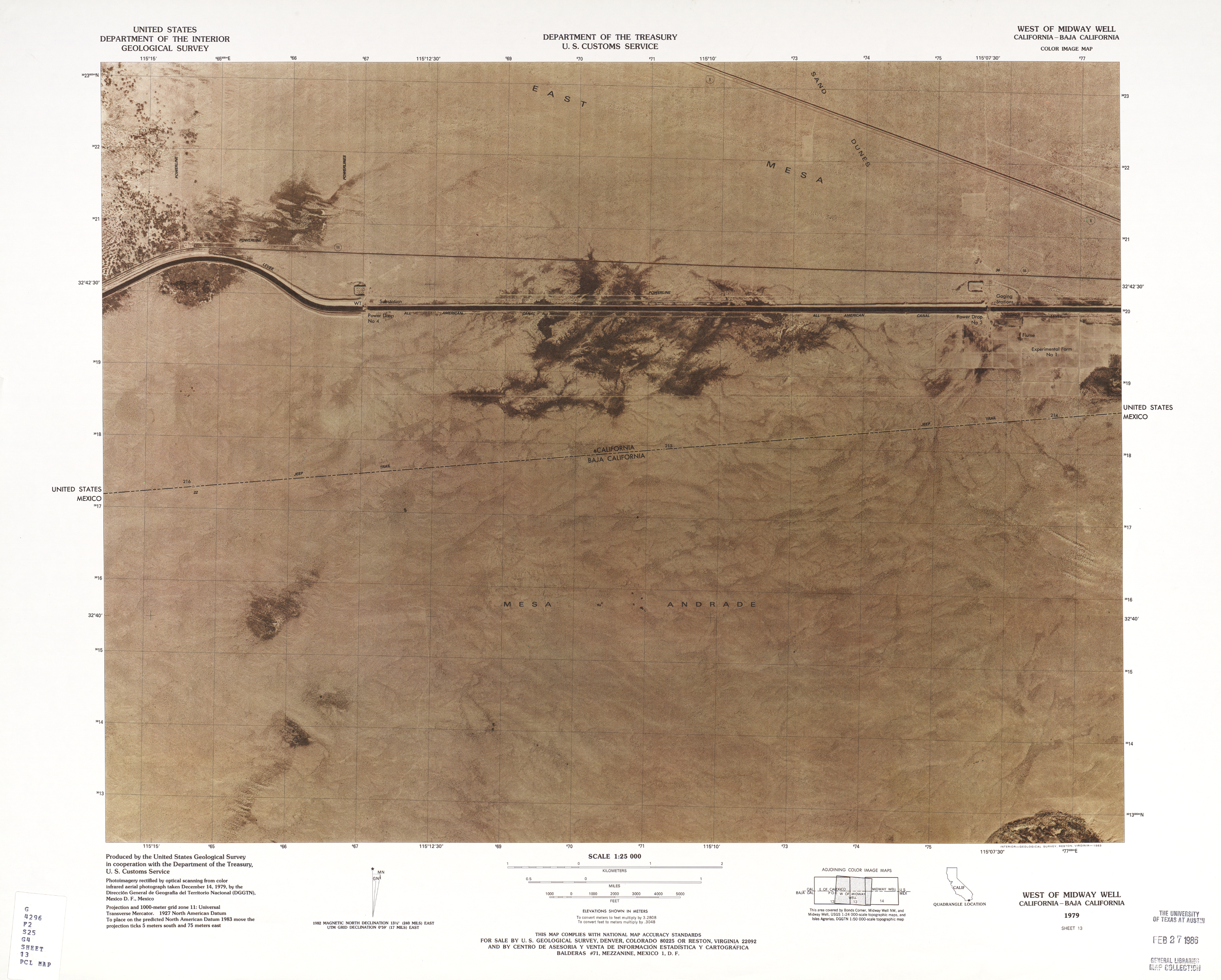 United States-Mexico Border Map, West of Midway Well