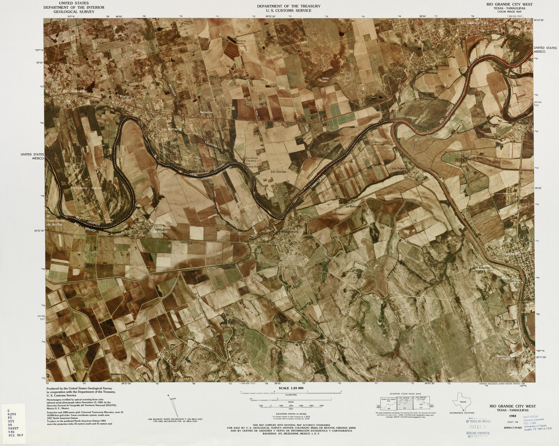 Mapa Fronterizo de México-Estados Unidos, Oeste de la Ciudad de Rio Grande 1982
