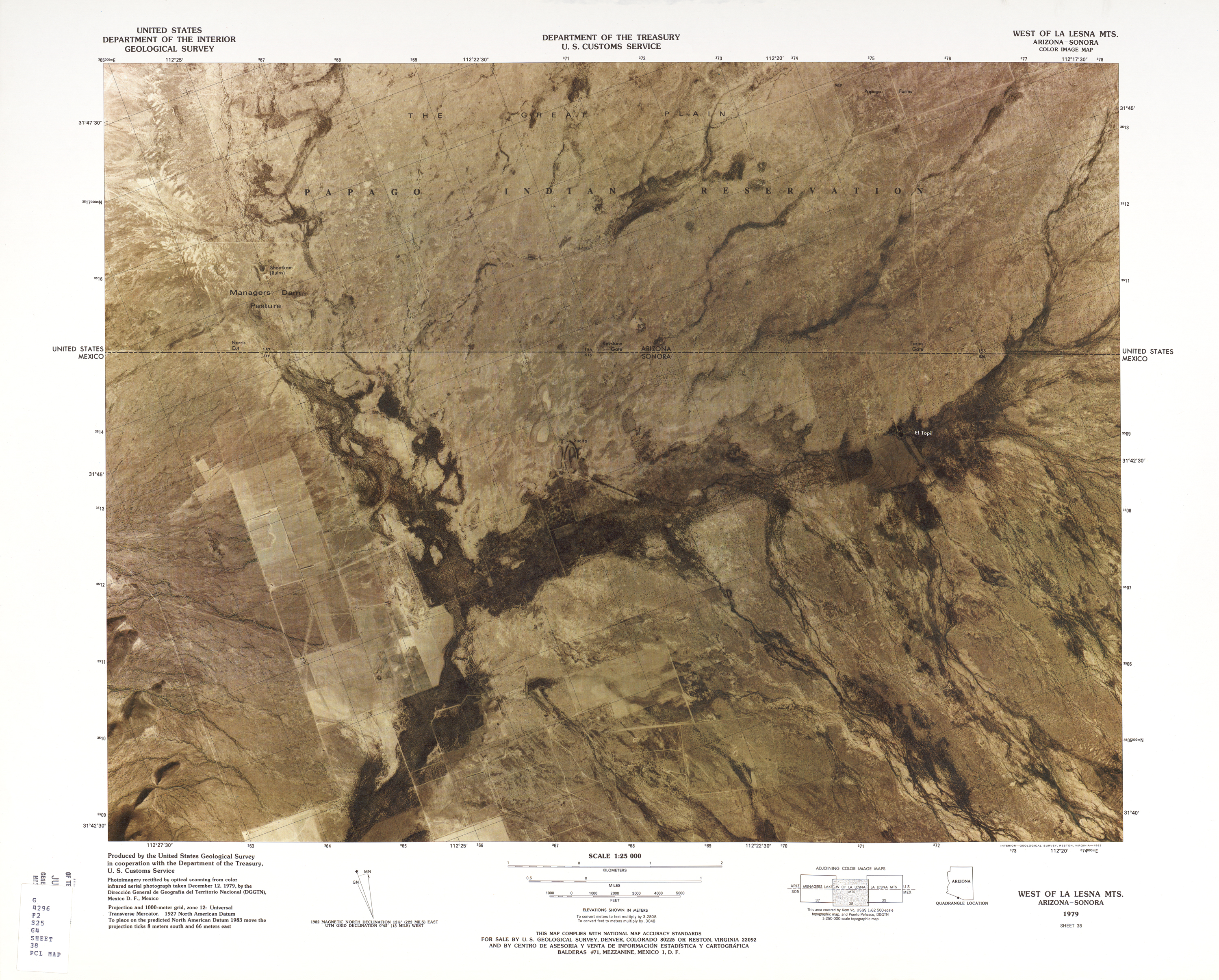 United States-Mexico Border Map, West of La Lesna Mts.