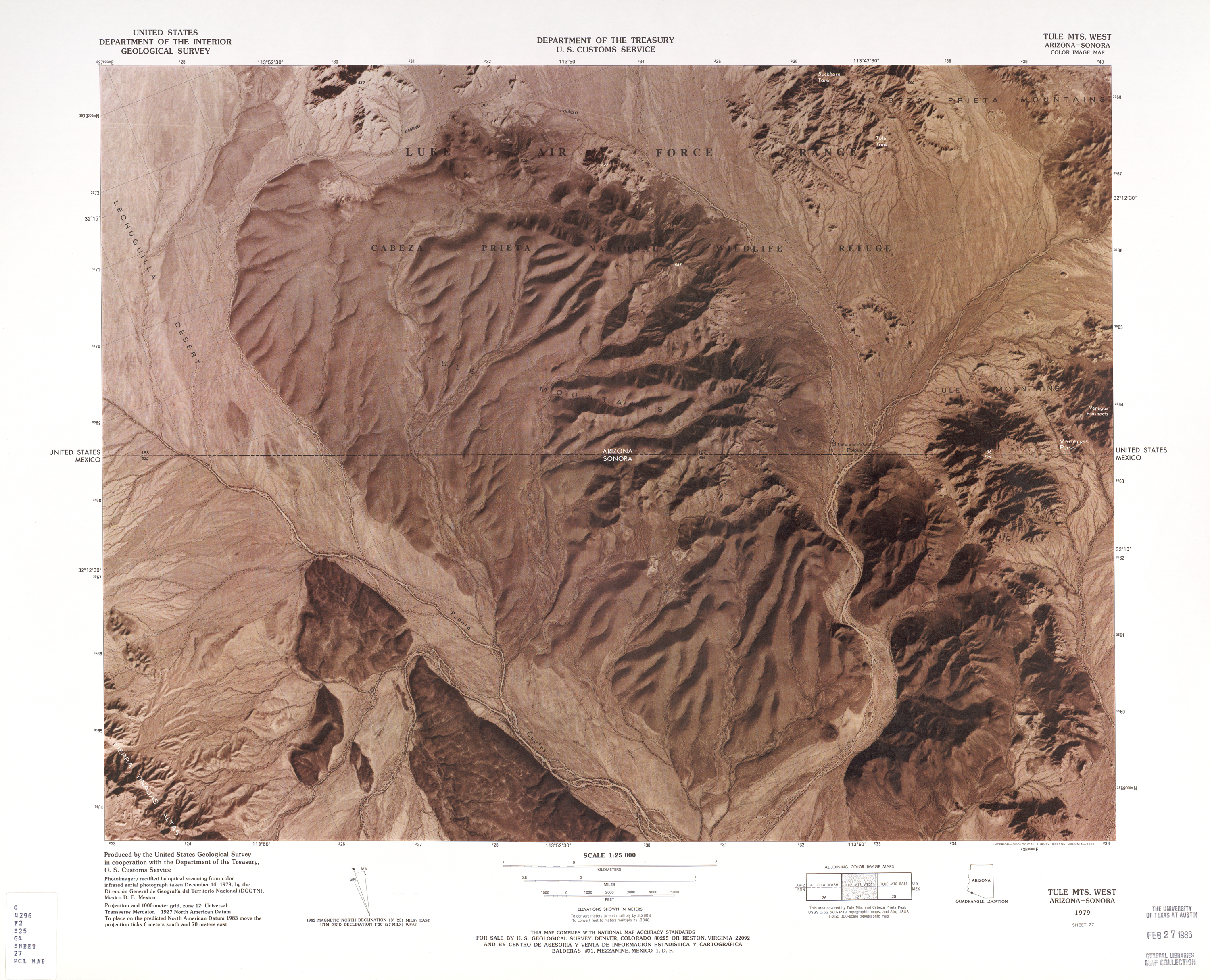 United States-Mexico Border Map, Tule Mts. West