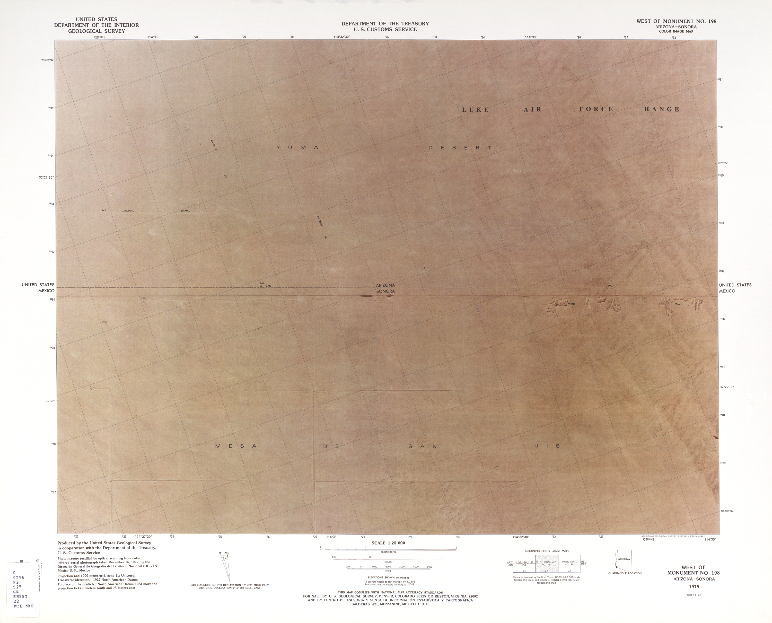 United States-Mexico Border Map, West of Monument No. 198