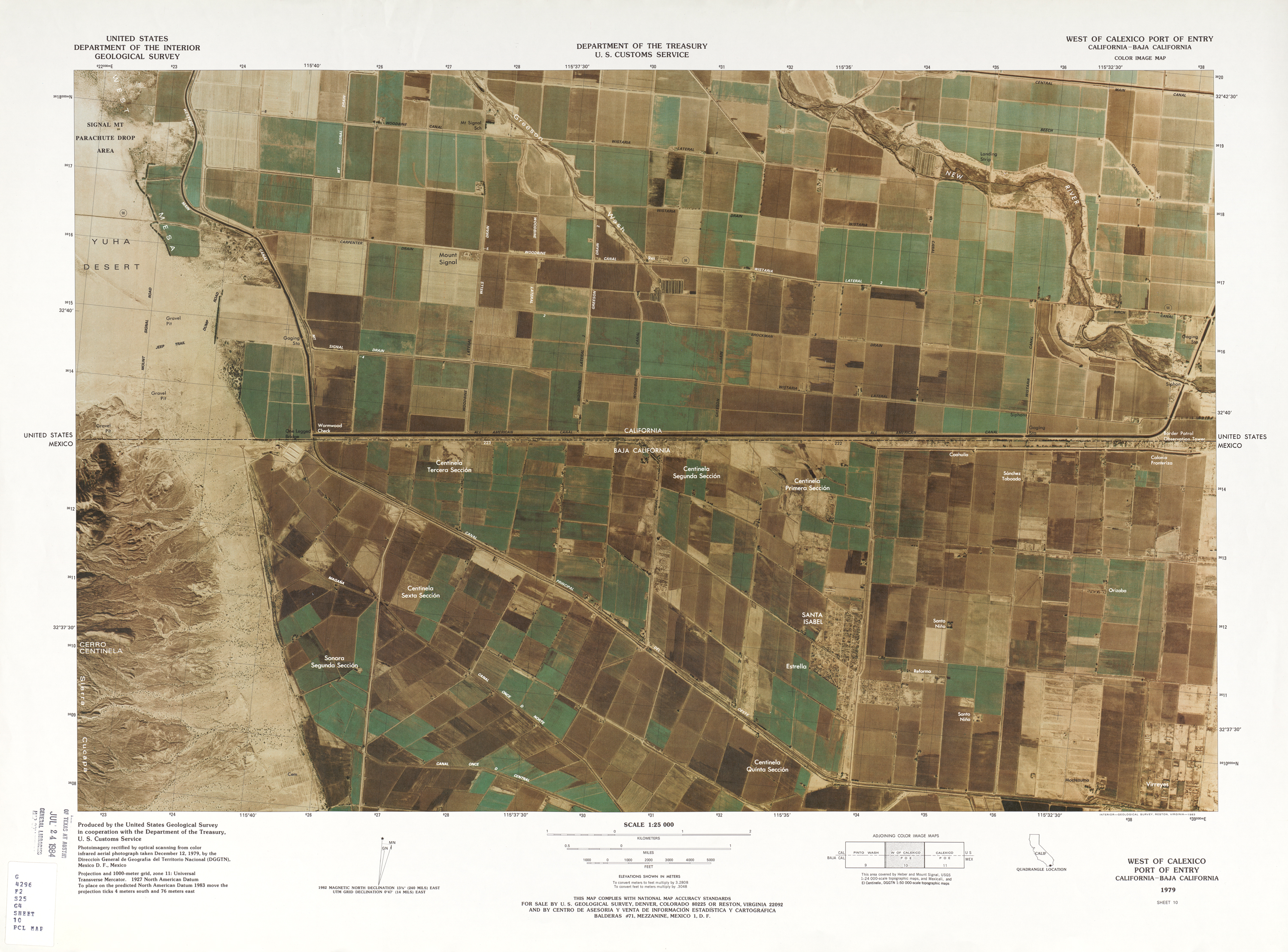 United States-Mexico Border Map, West of Calexico Port of Entry