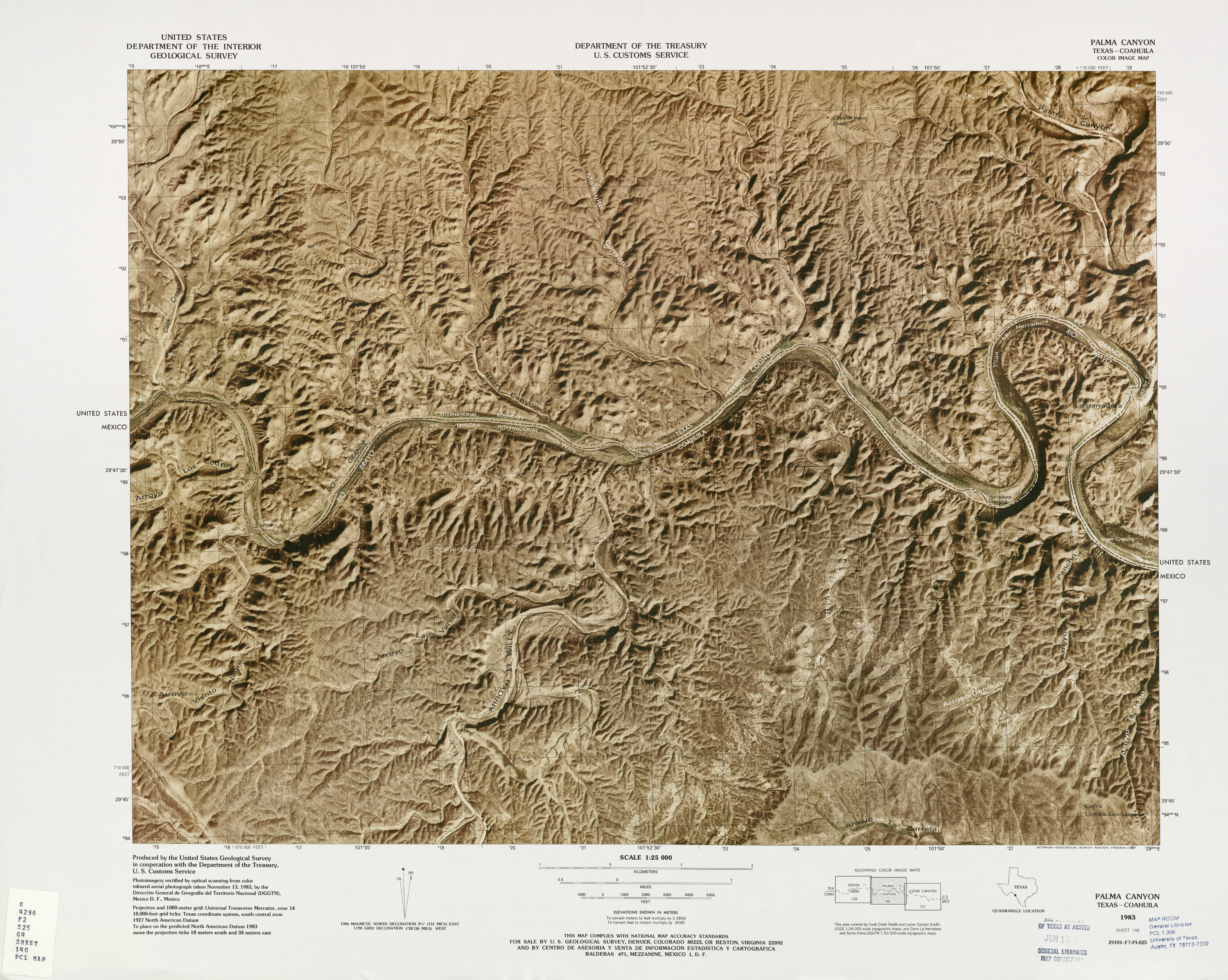 United States-Mexico Border Map, Palma Canyon