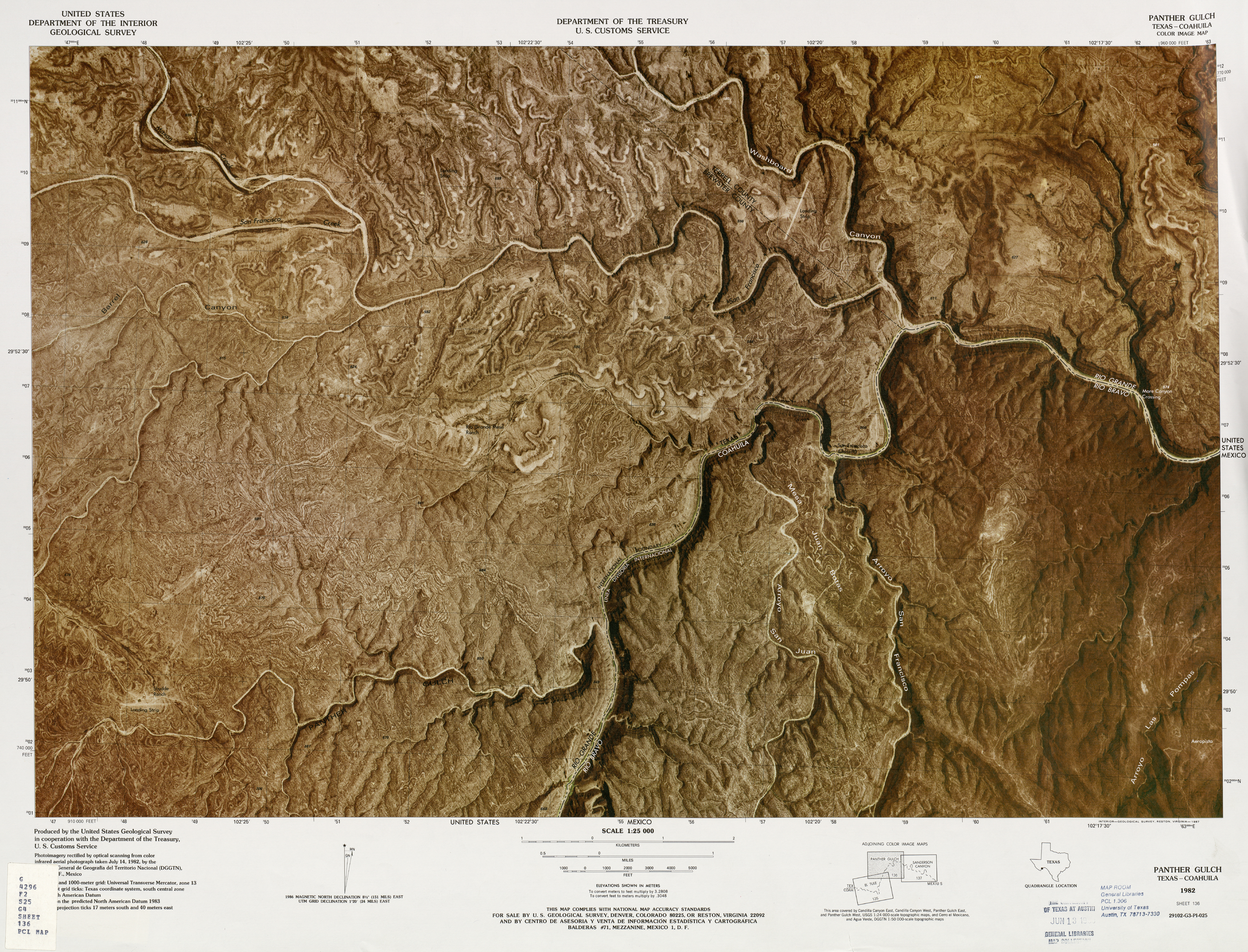 United States-Mexico Border Map, Panther Gulch