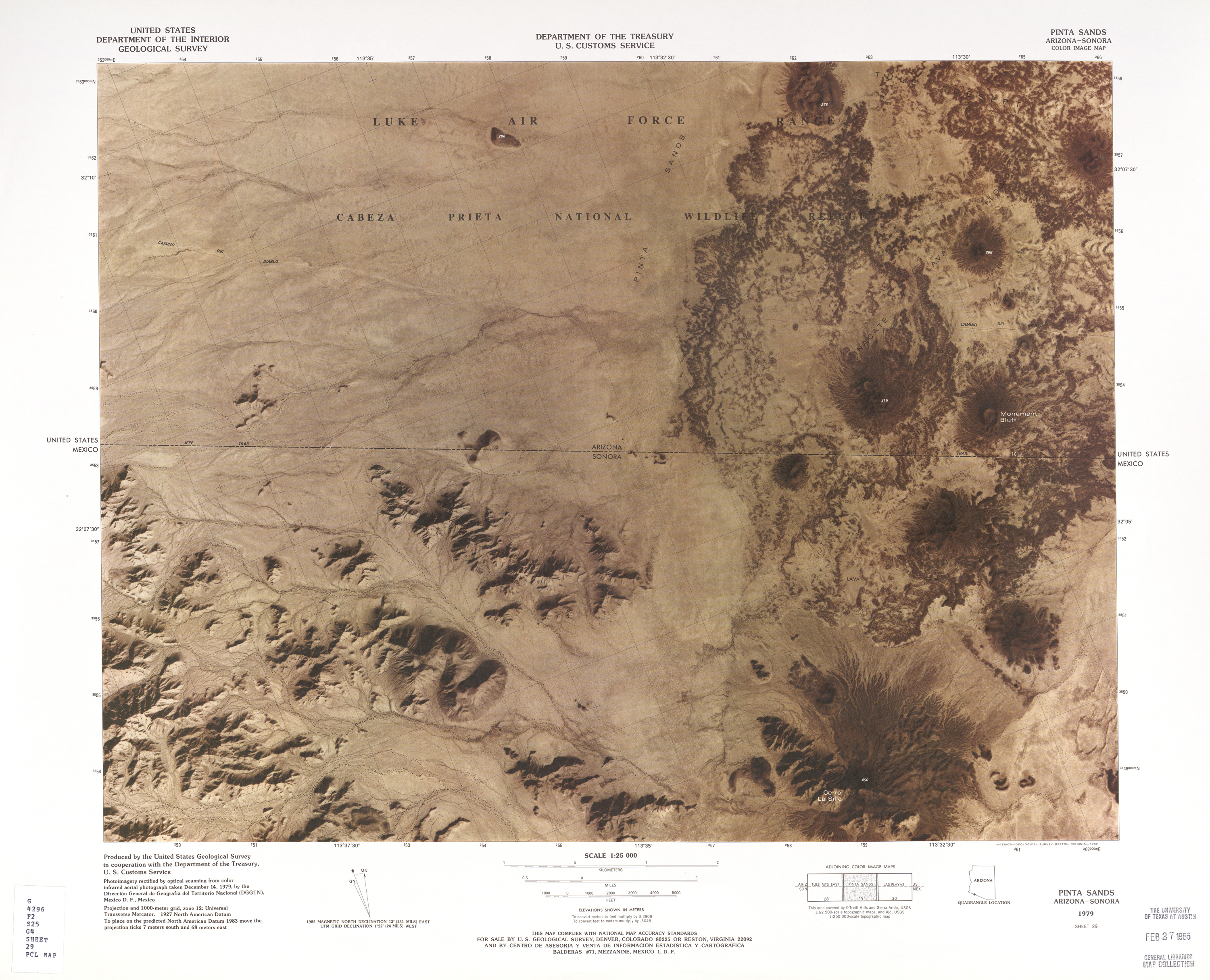 United States-Mexico Border Map, Pinta Sands