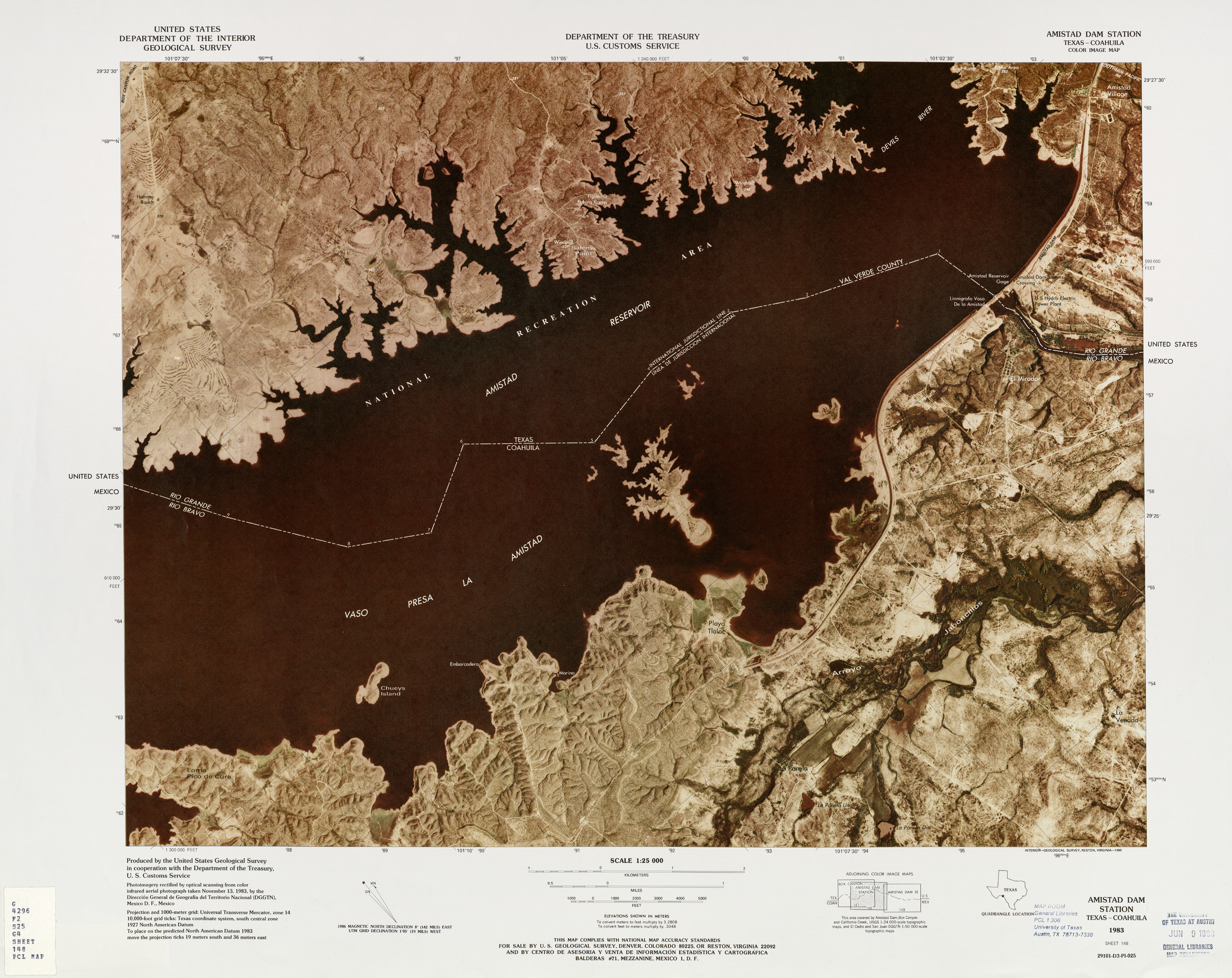 United States-Mexico Border Map, Amistad Dam Station