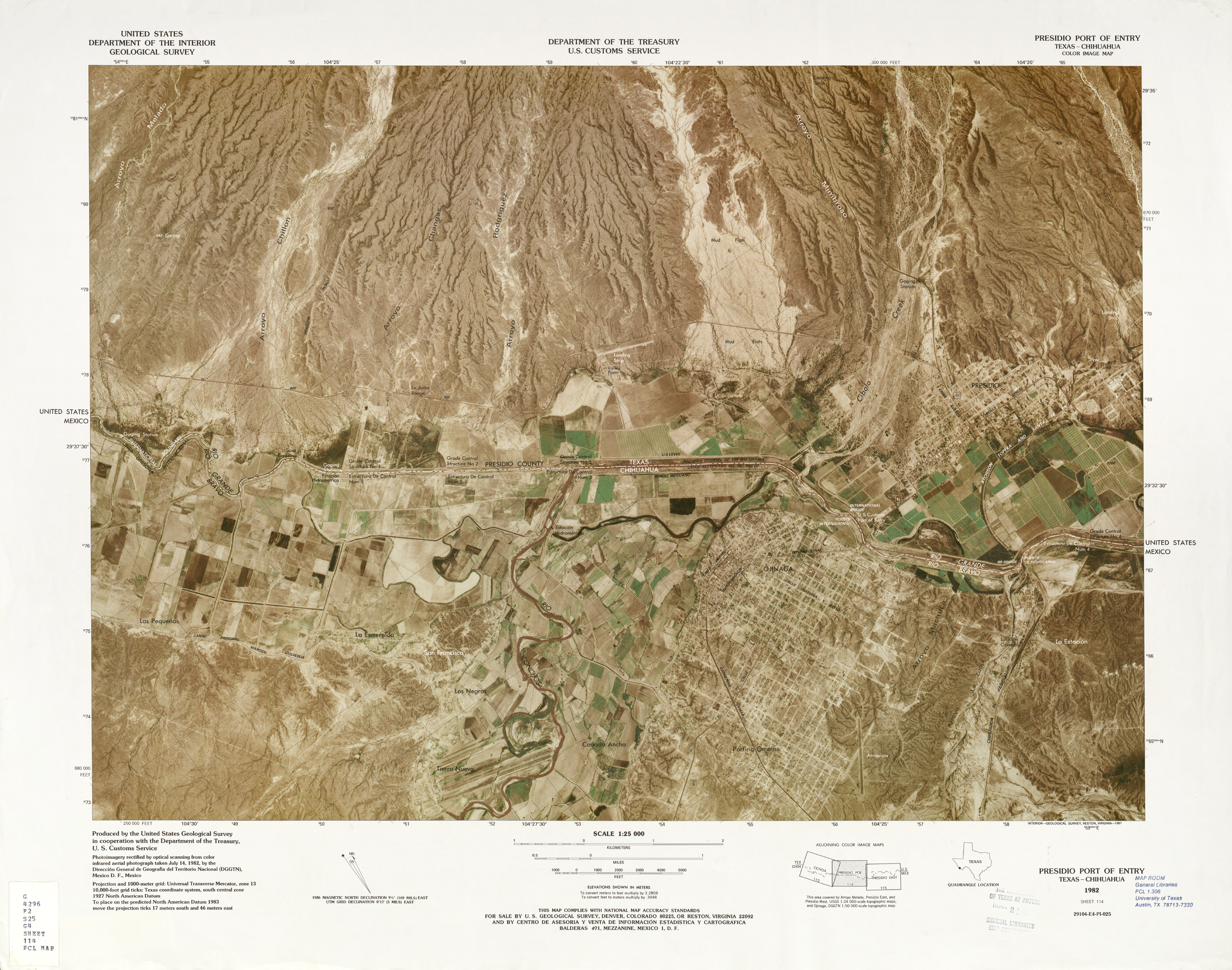 United States-Mexico Border Map, Presidio