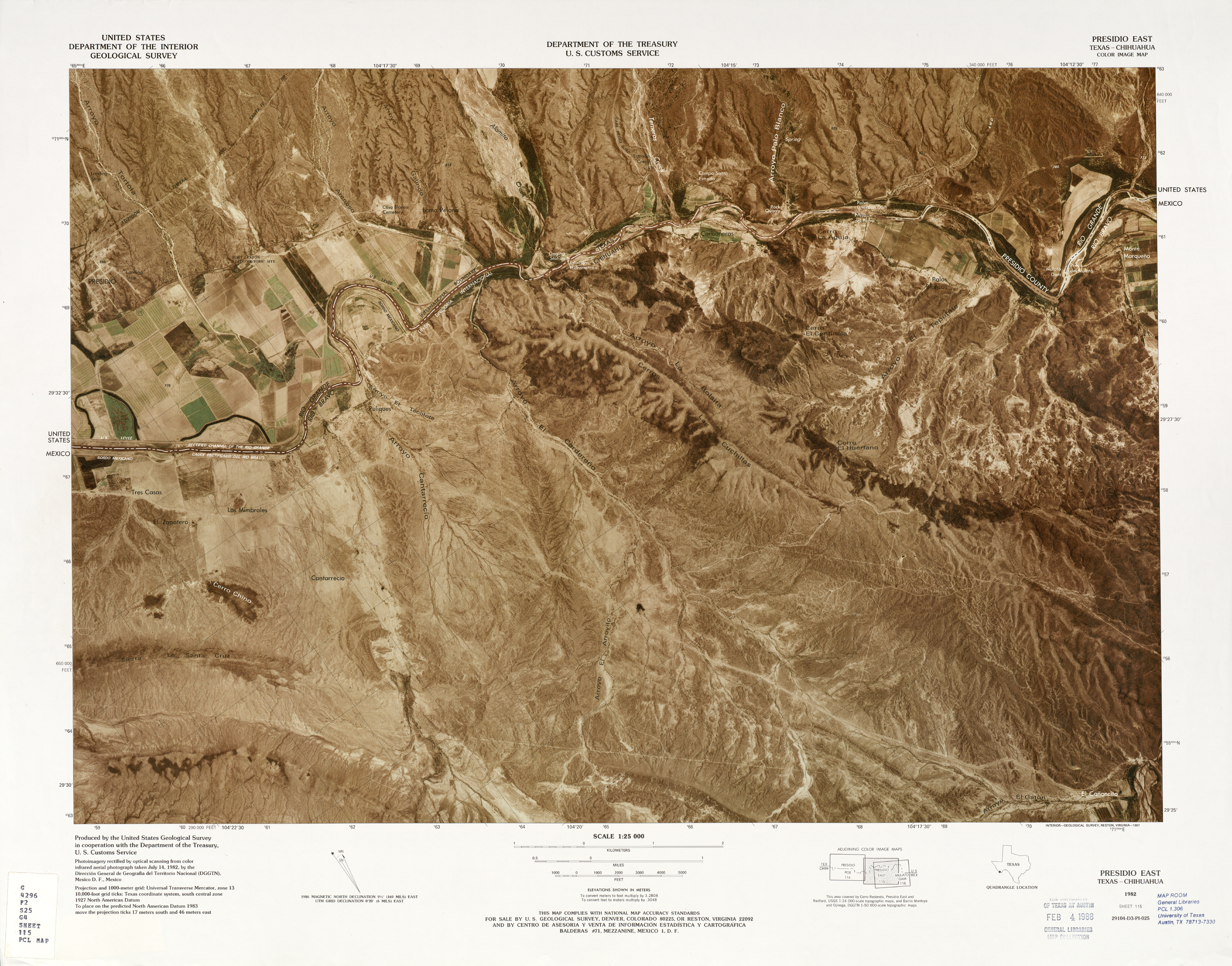 United States-Mexico Border Map, Presidio East