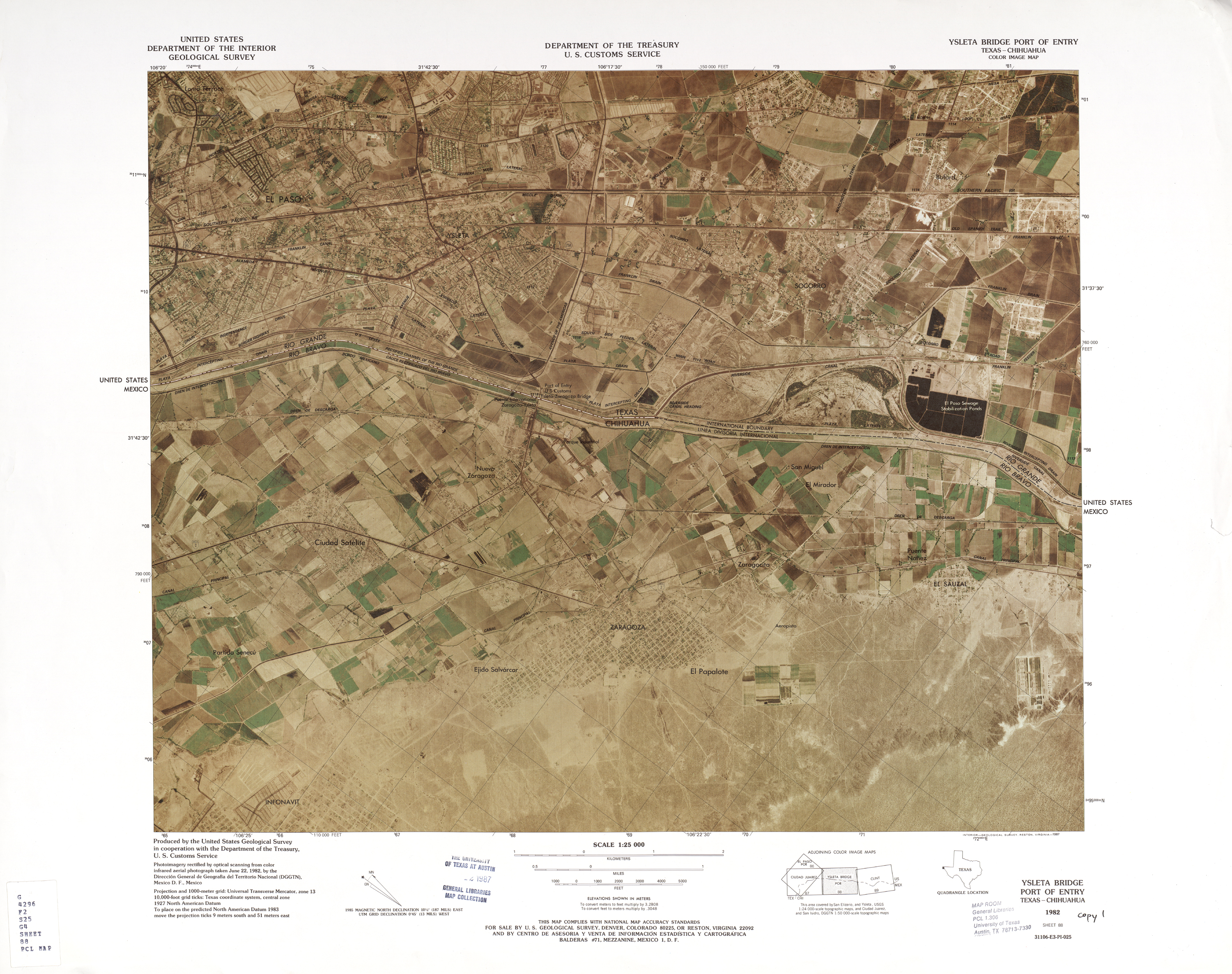 United States-Mexico Border Map, Yselta Bridge