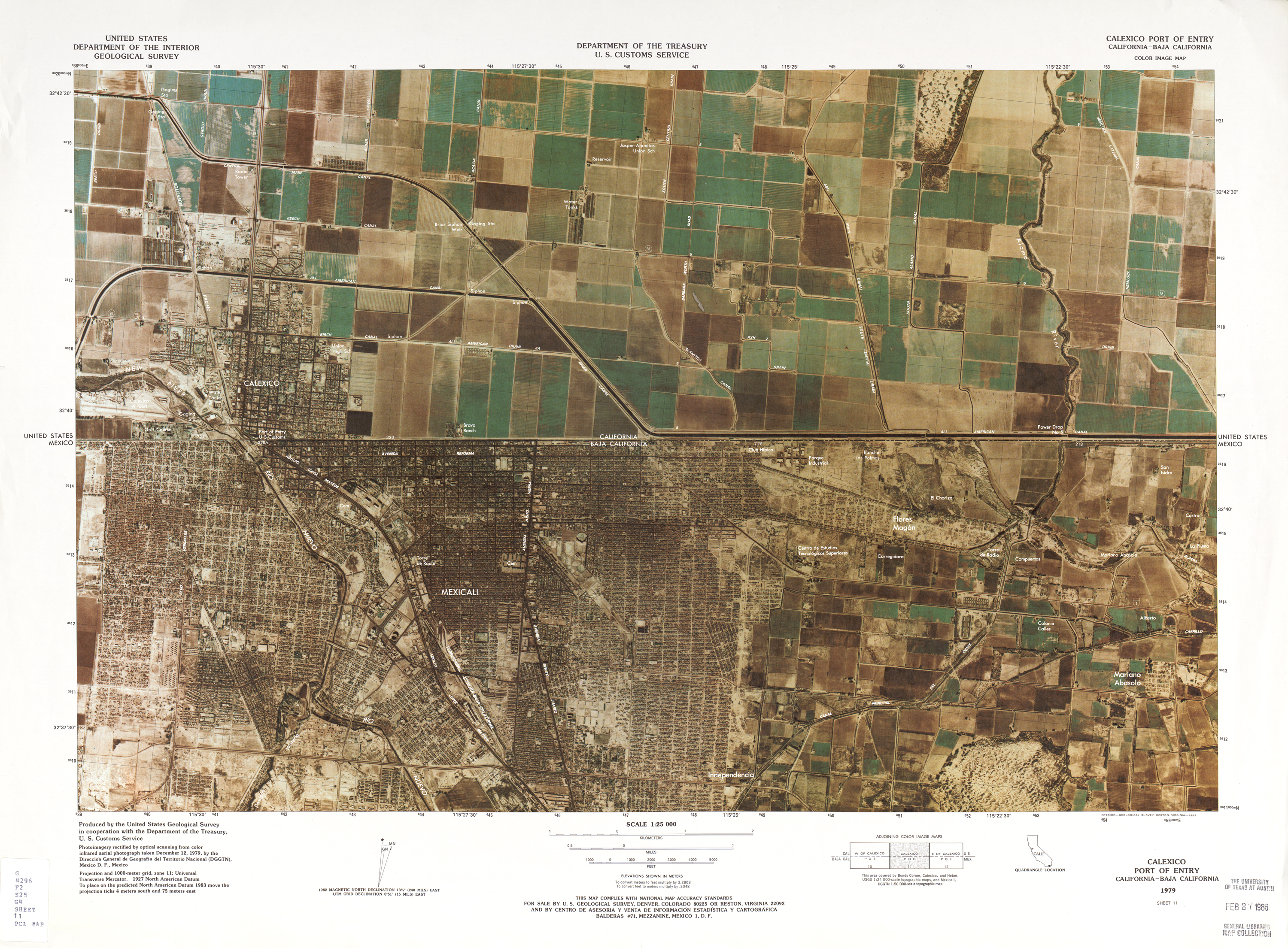 United States-Mexico Border Map, Calexico Port of Entry