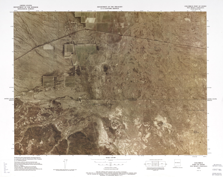 Mapa Fronterizo de México-Estados Unidos, Puerto de Entrada Columbus 1979