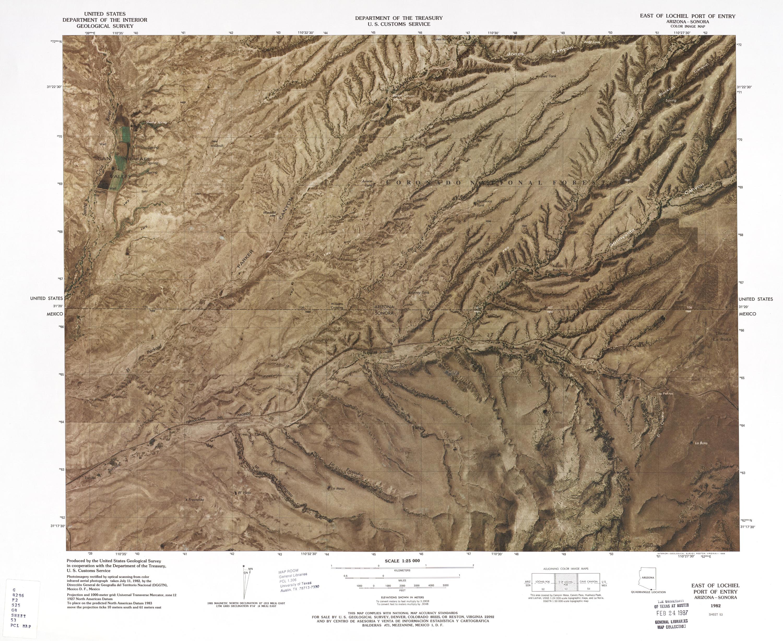 Mapa Fronterizo de México-Estados Unidos, Puerto de Entrada Este de Lochiel 1982