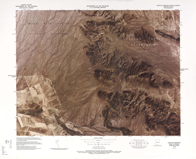 Mapa Fronterizo de México-Estados Unidos, Puerto de Entrada Este de Lukeville 1979