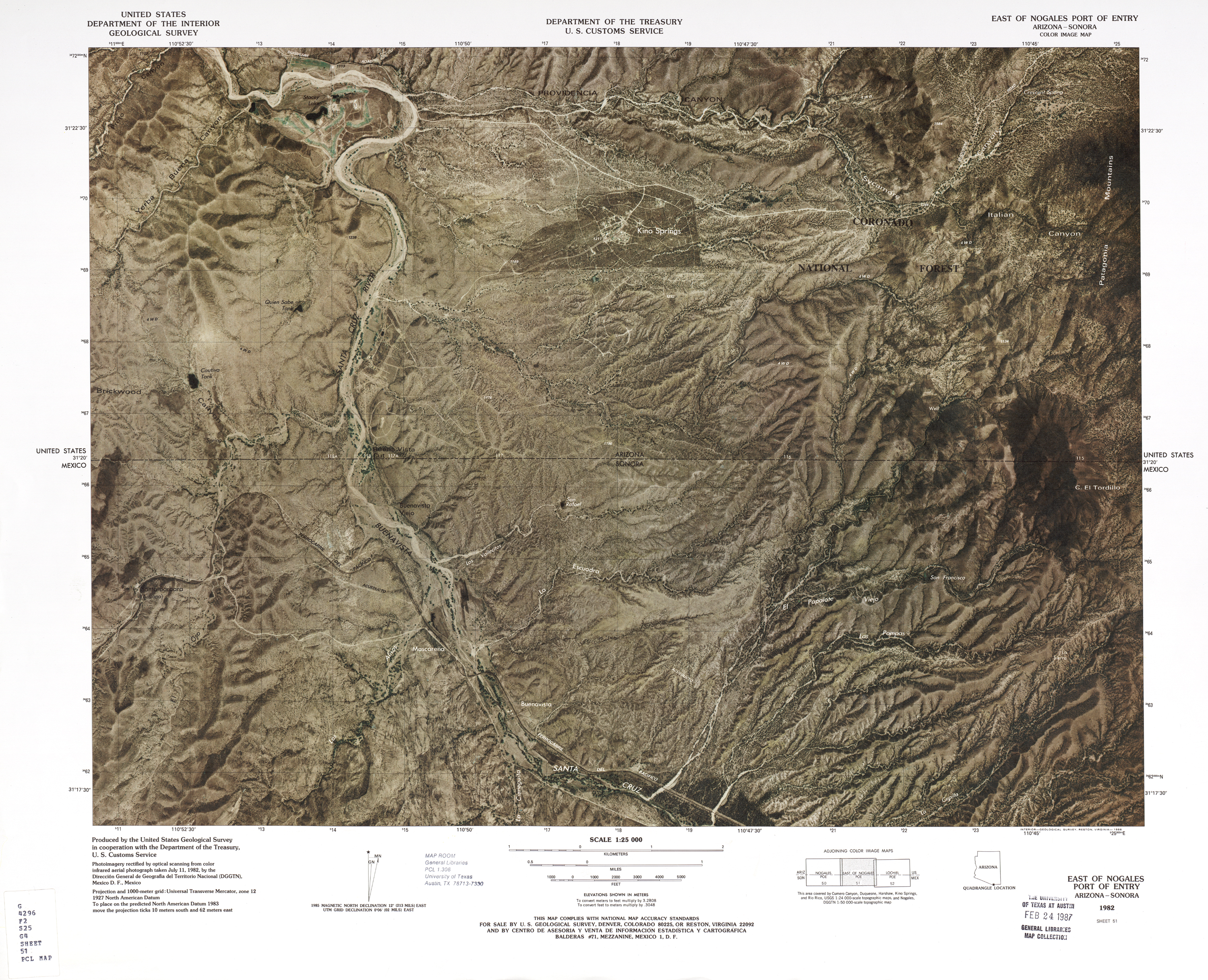 United States-Mexico Border Map, East of Nogales Port of Entry