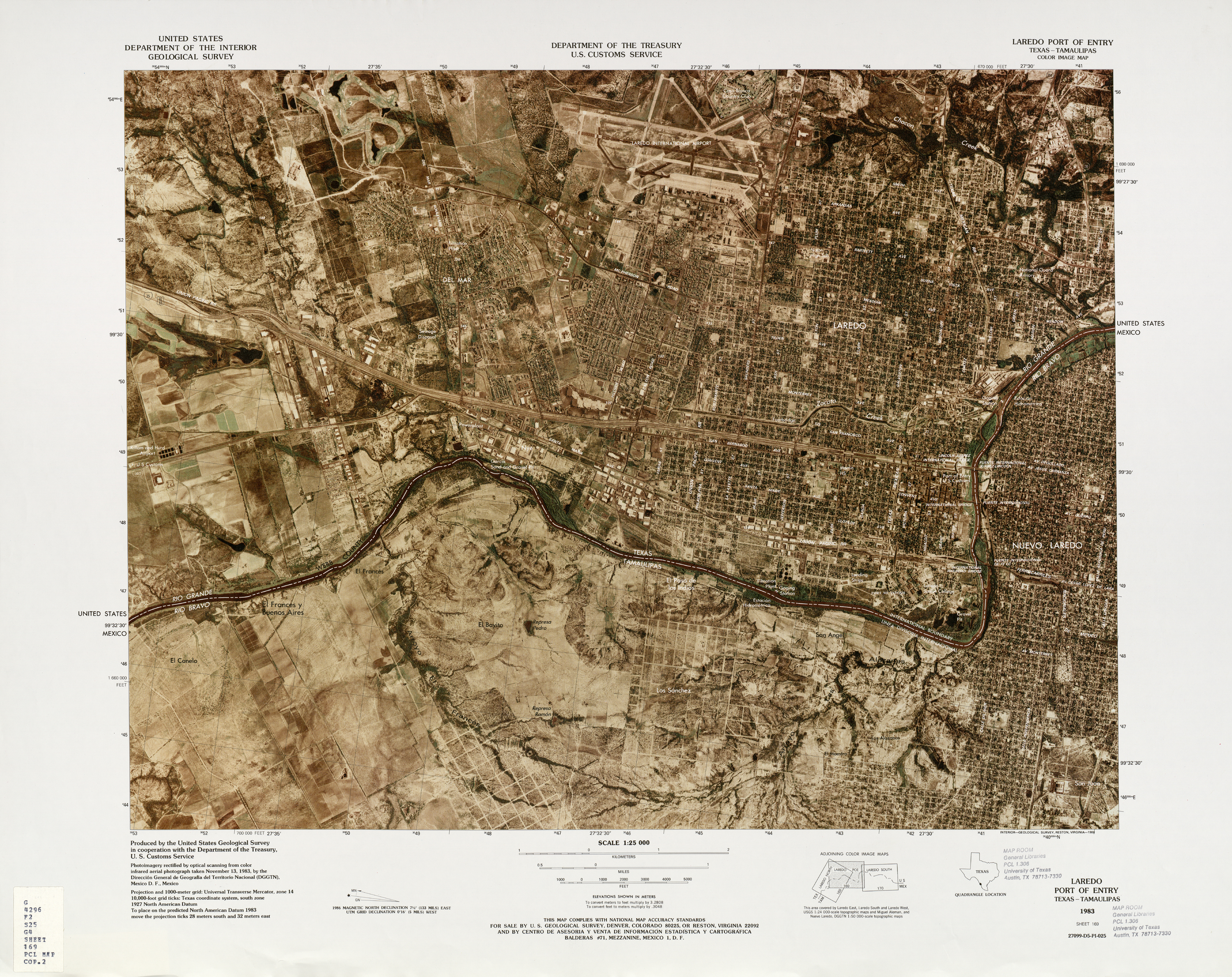 United States-Mexico Border Map, Laredo Port of Entry