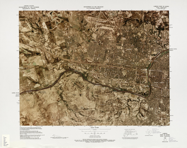 Mapa Fronterizo de México-Estados Unidos, Puerto de Entrada Laredo 1983