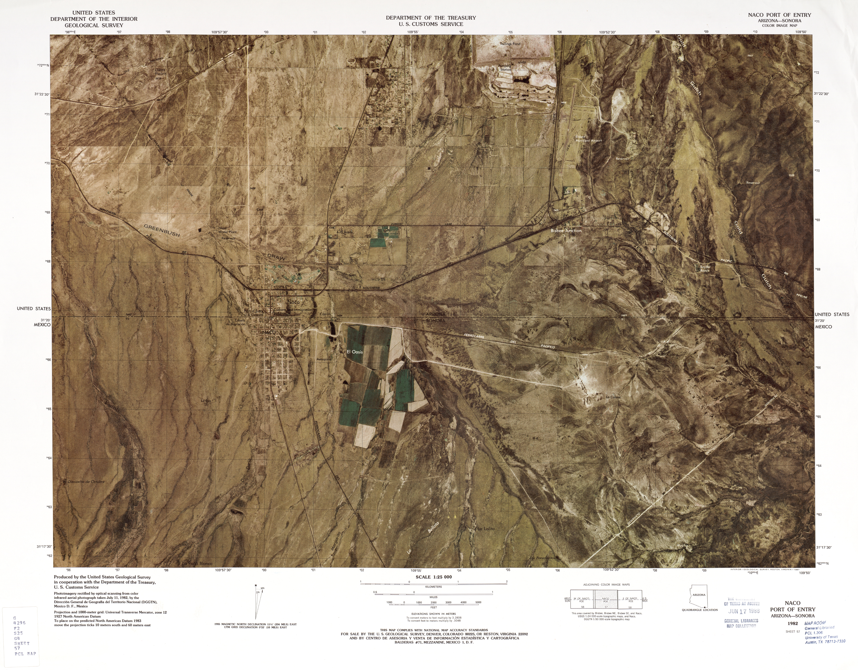 United States-Mexico Border Map, Naco Port of Entry