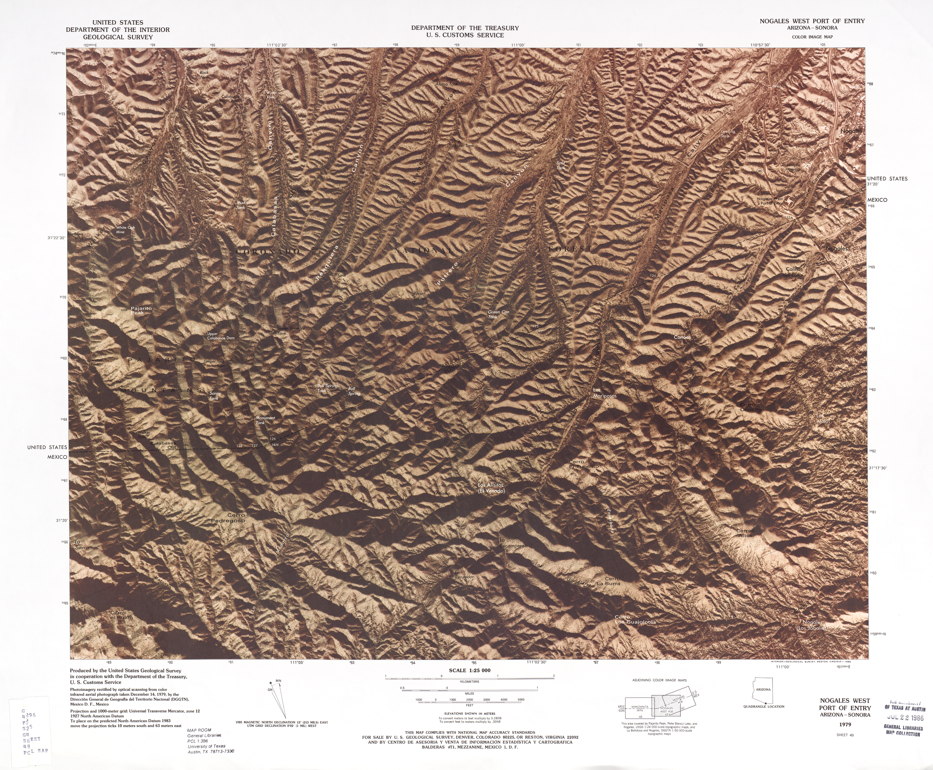 United States-Mexico Border Map, Nogales West Port of Entry