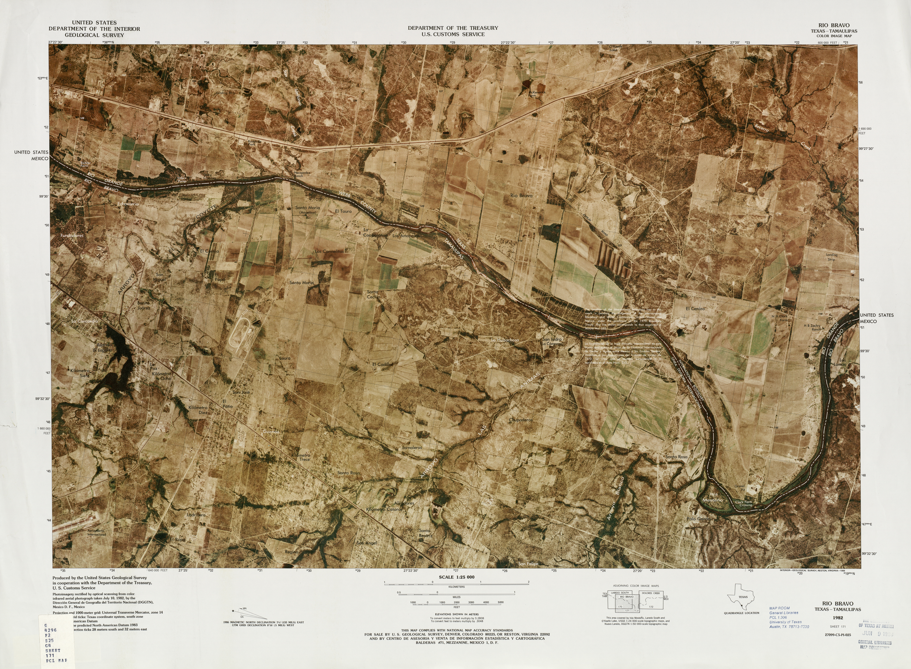 United States-Mexico Border Map, Rio Bravo