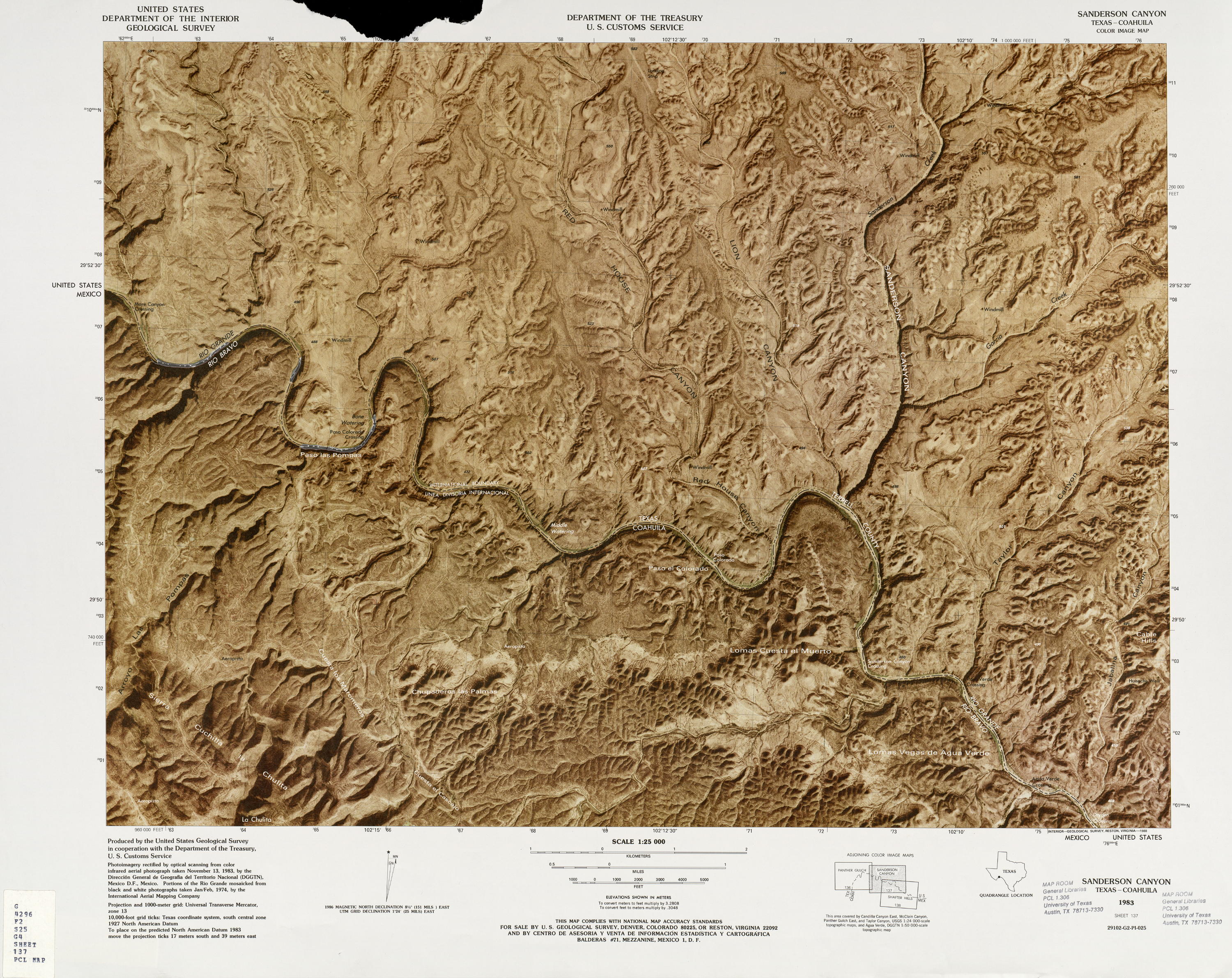 United States-Mexico Border Map, Sanderson Canyon