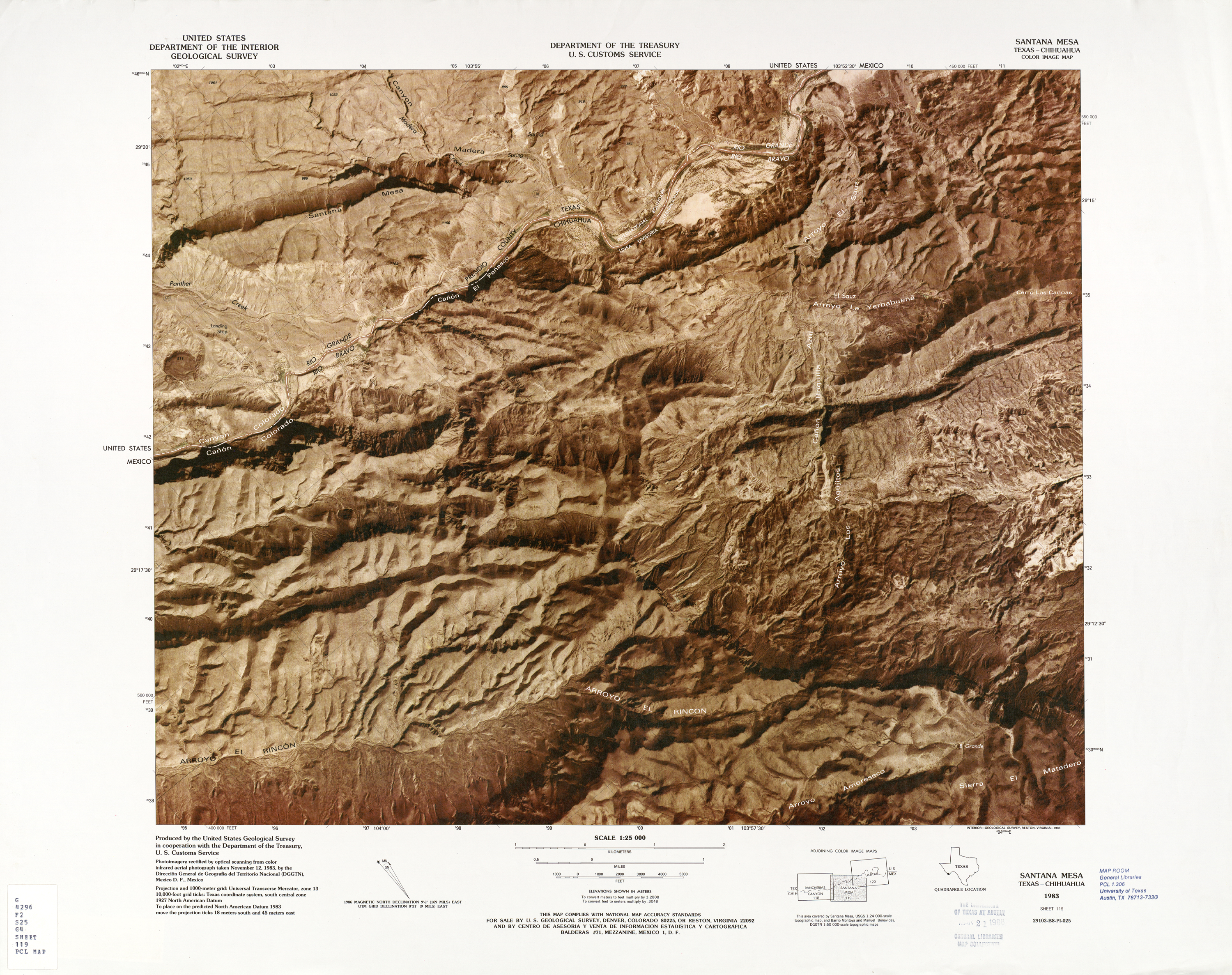 United States-Mexico Border Map, Santana Mesa