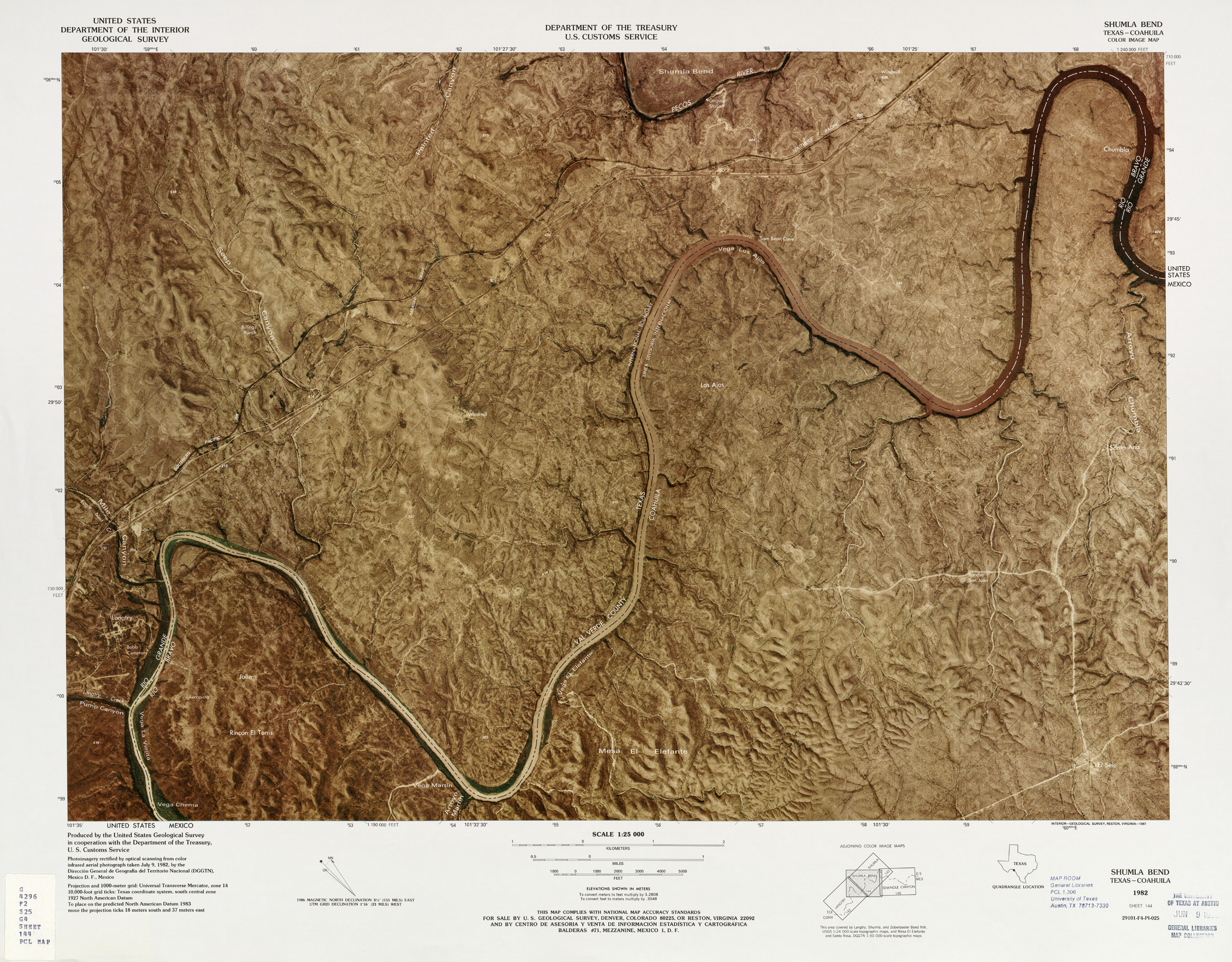 United States-Mexico Border Map, Shumla Bend