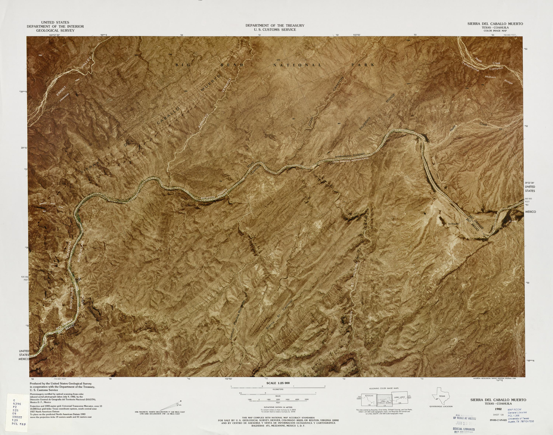 United States-Mexico Border Map, Sierra Del Caballo Muerto