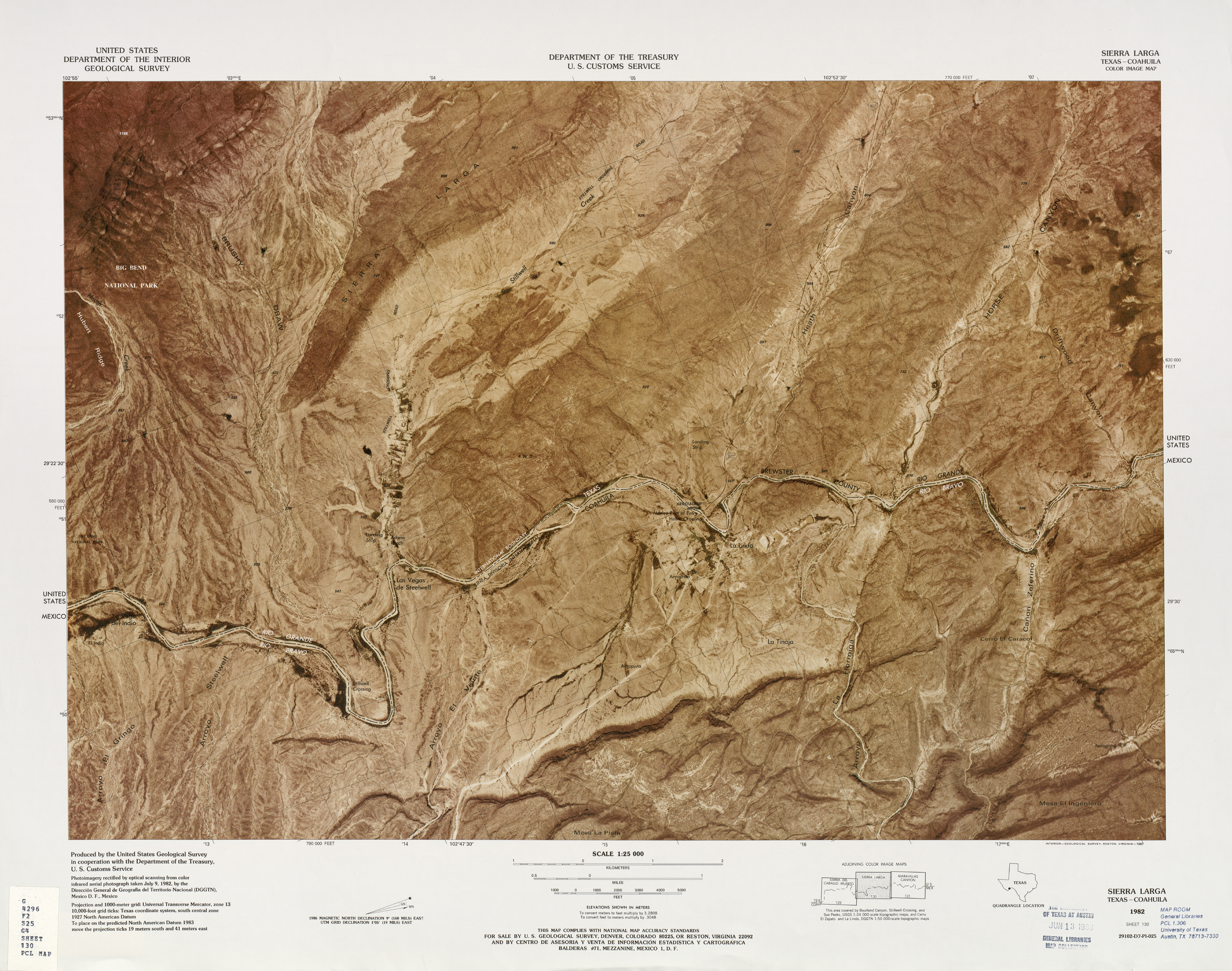 United States-Mexico Border Map, Sierra Larga