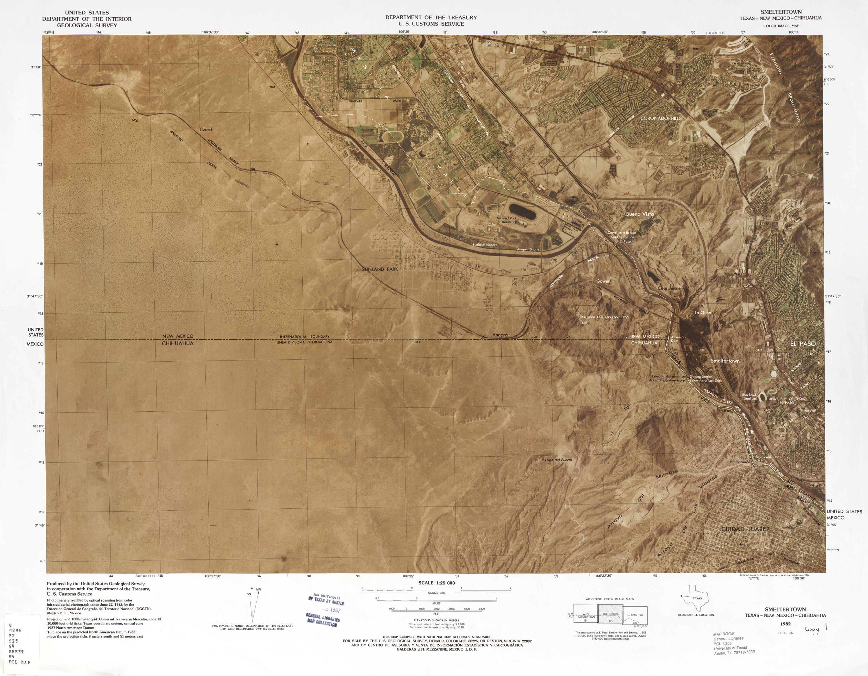 Mapa Fronterizo de México-Estados Unidos, Smeltertown 1982
