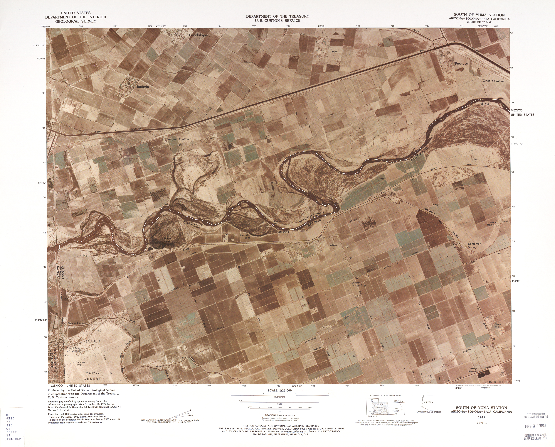 Mapa Fronterizo de México-Estados Unidos, Sur de Yuma Station 1979