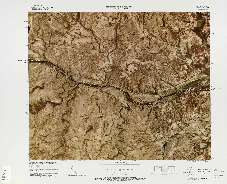 United States-Mexico Border Map, Ammistad Dam SE