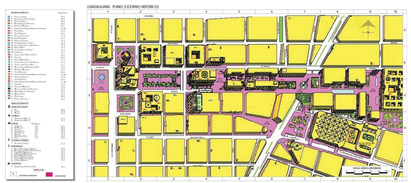 Guadalajara Historical Center Map, Mexico
