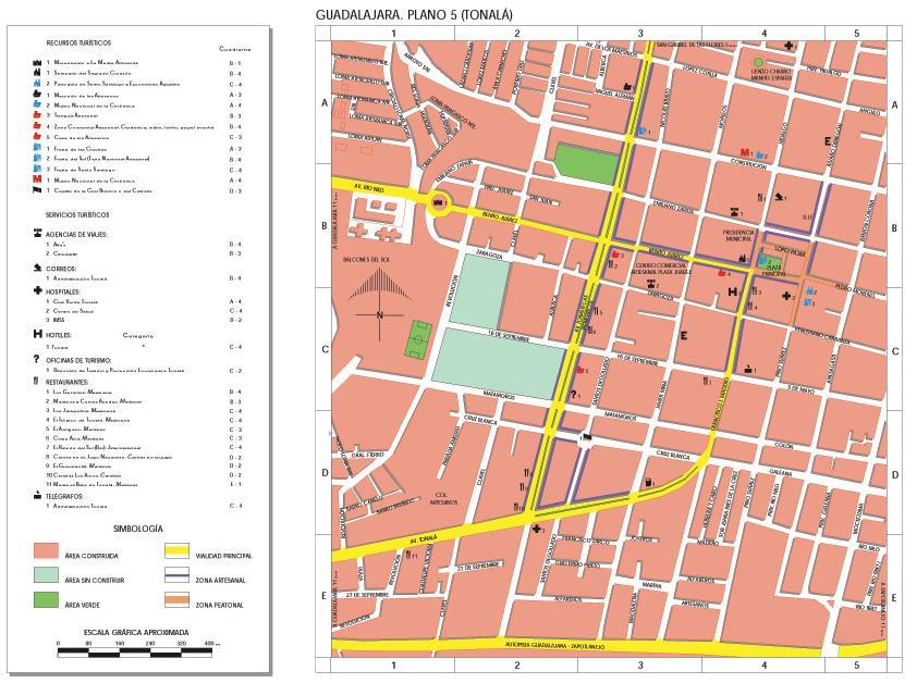 Tonala Map, Guadalajara, Jalisco, Mexico