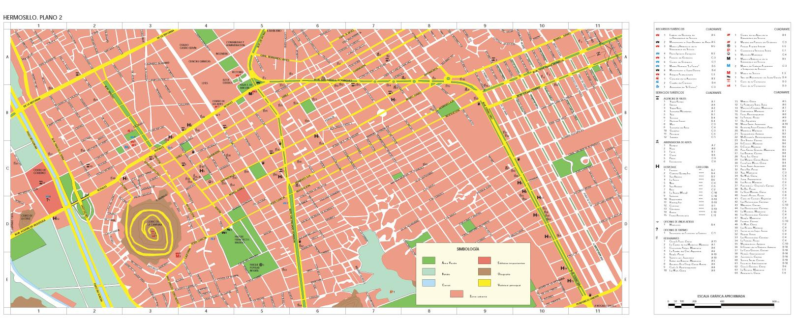 Hermosillo (Downtown) Map, Sonora, Mexico