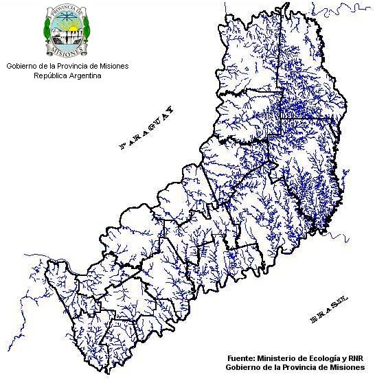 Mapa Hidrografico, Provincia Misiones, Argentina