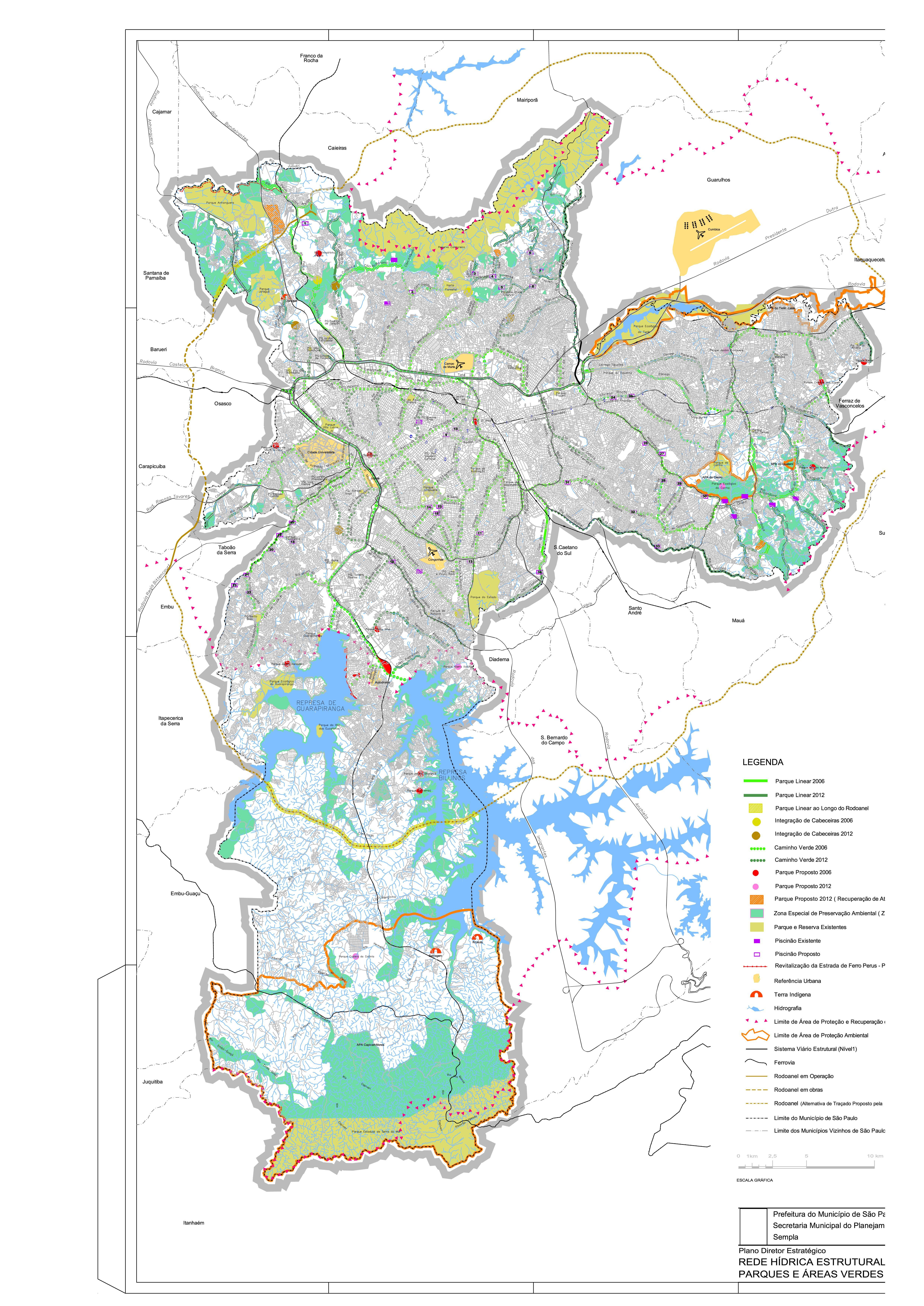 Mapa Hidrográfico de la Ciudad de São Paulo, Brasil