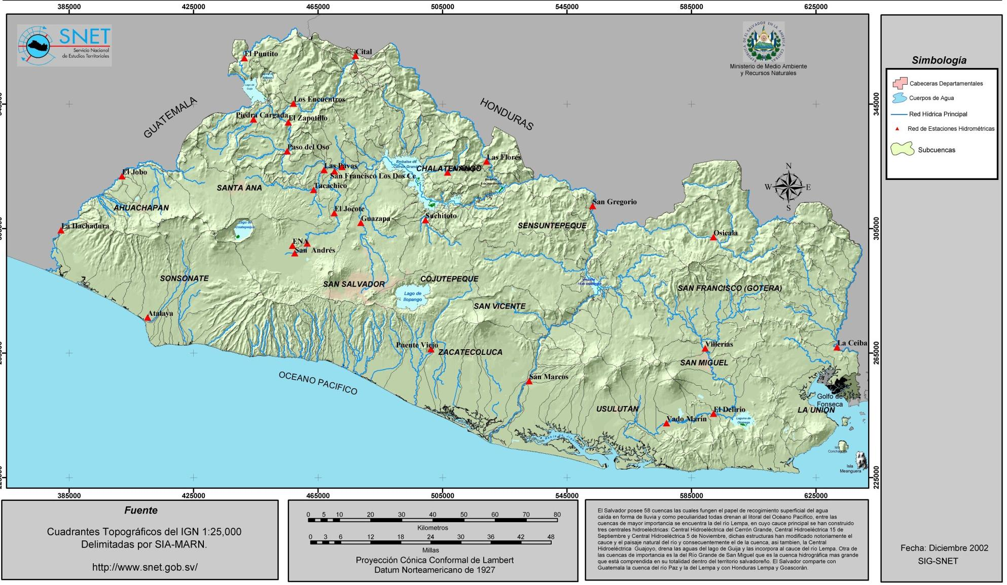 El Salvador Hydrological Map