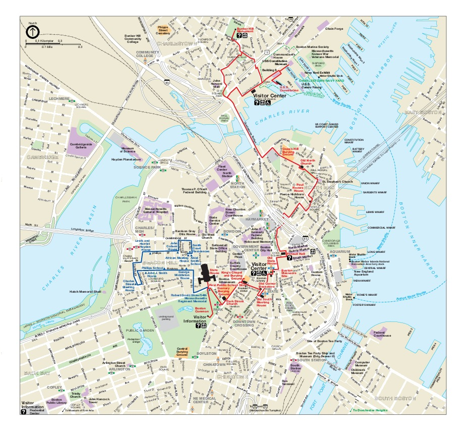 Boston Historical Map, Massachusetts, United States
