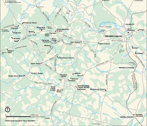 Mapa Histórico de la Región del Parque Militar Nacional Fredericksburg y Spotsylvania, Virginia, Estados Unidos