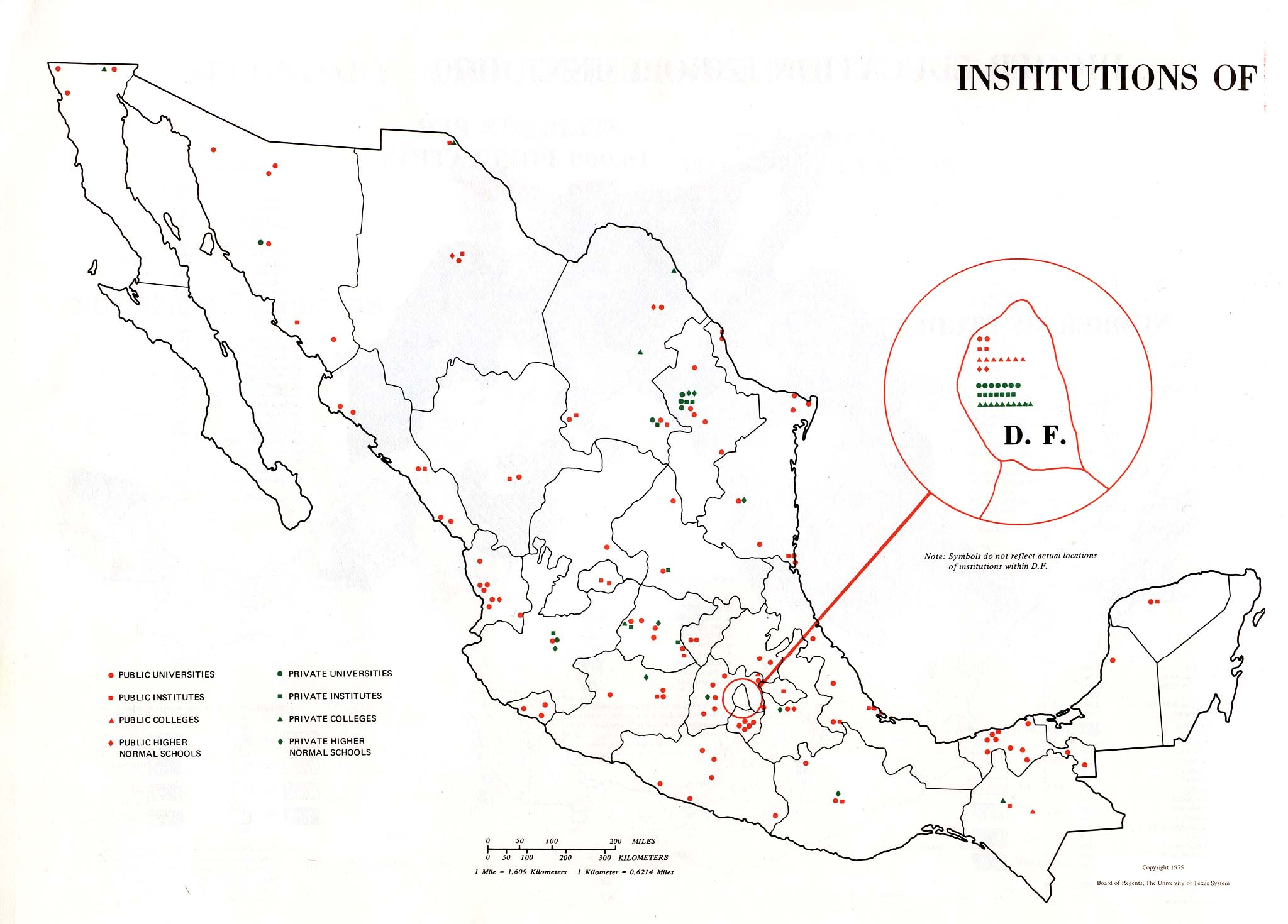 Institutions of Higher Learning Map, Mexico