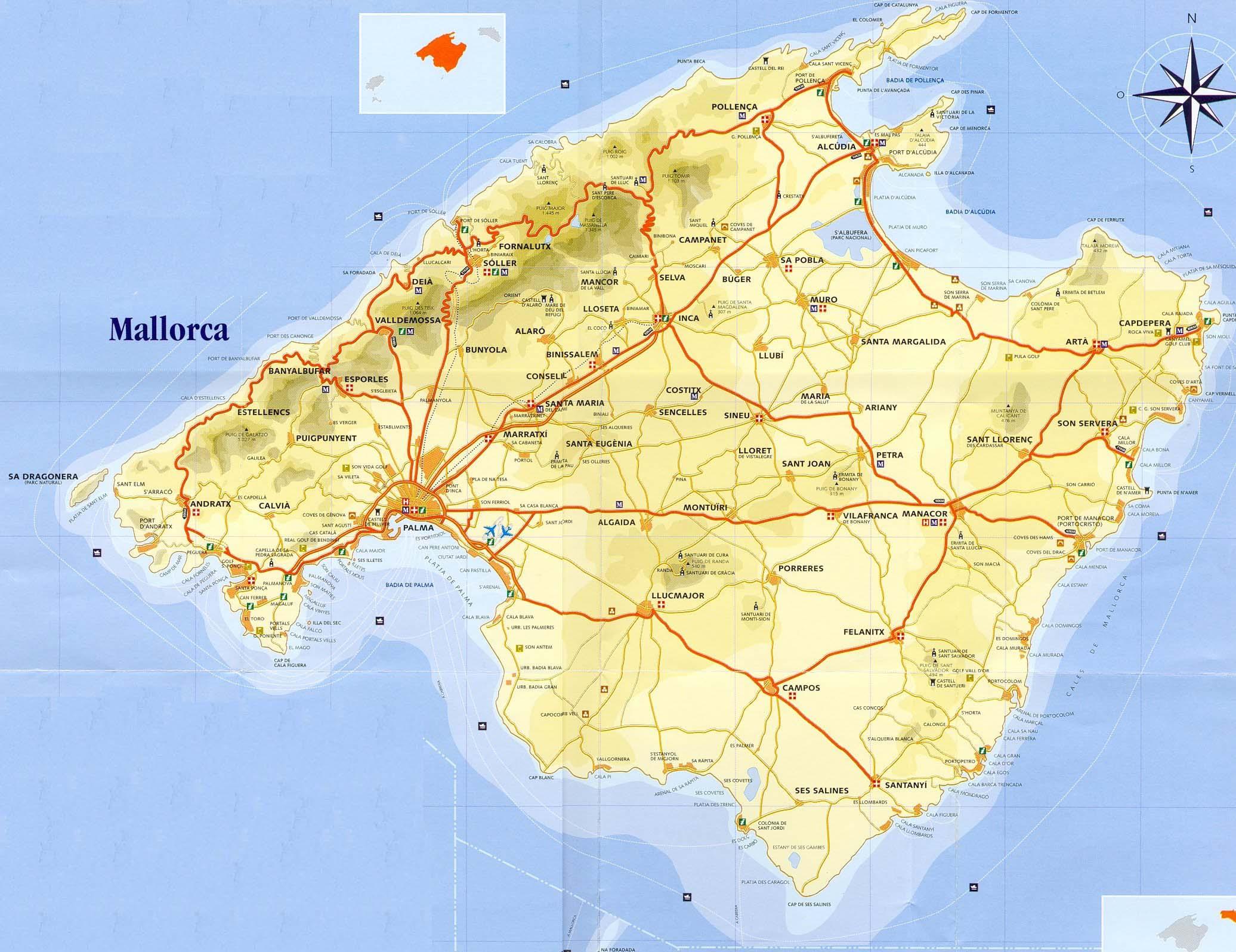 Mapa Isla Mallorca, España