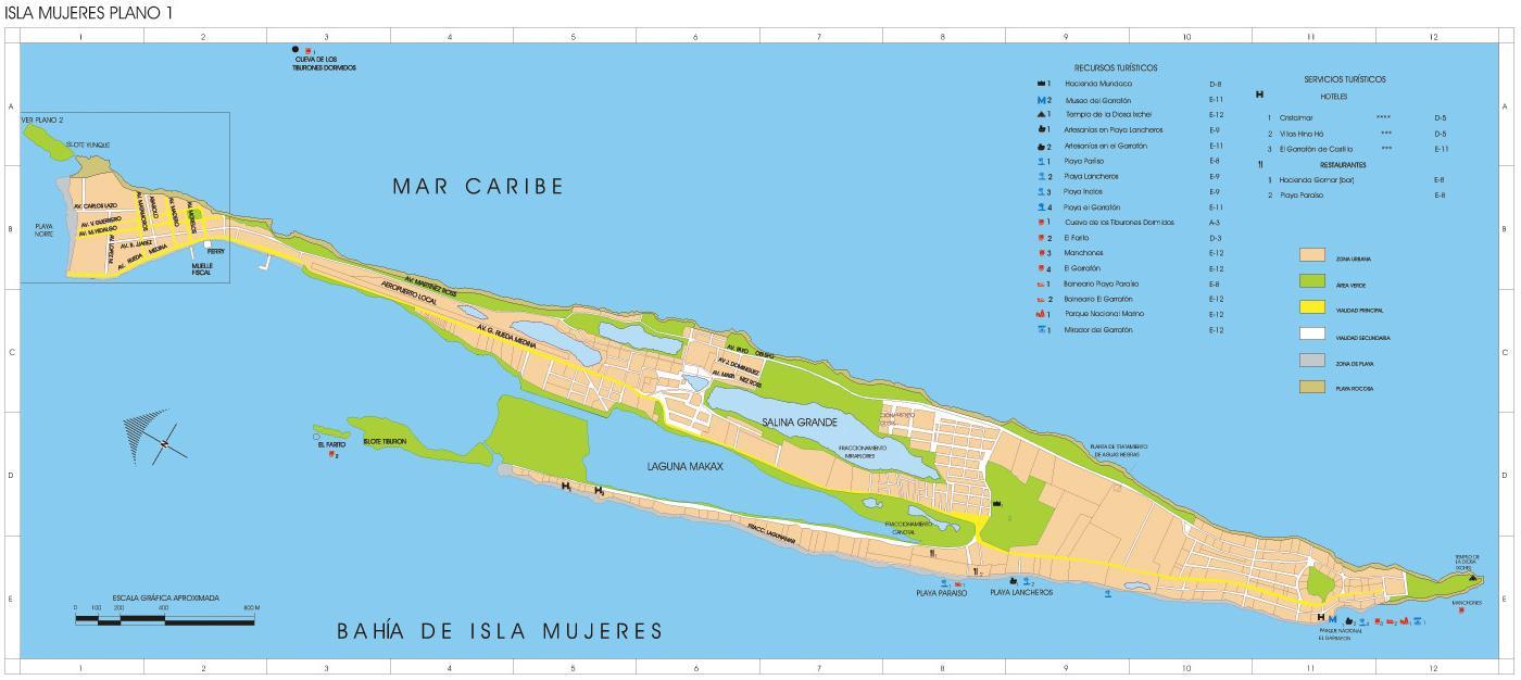 Isla Mujeres Map, Quintana Roo, Mexico