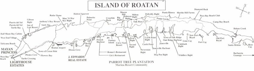 Roatan Island Map, Bay Islands Department, Honduras